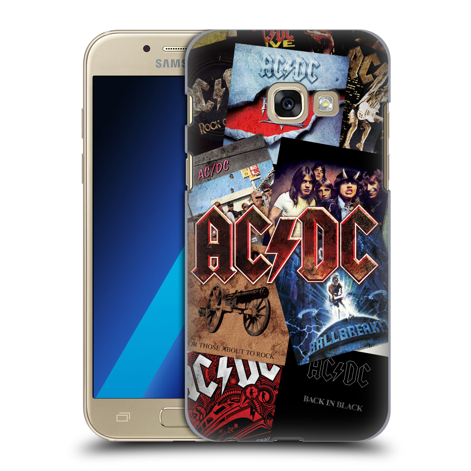 Plastové pouzdro na mobil Samsung Galaxy A3 (2017) HEAD CASE AC/DC Koláž desek