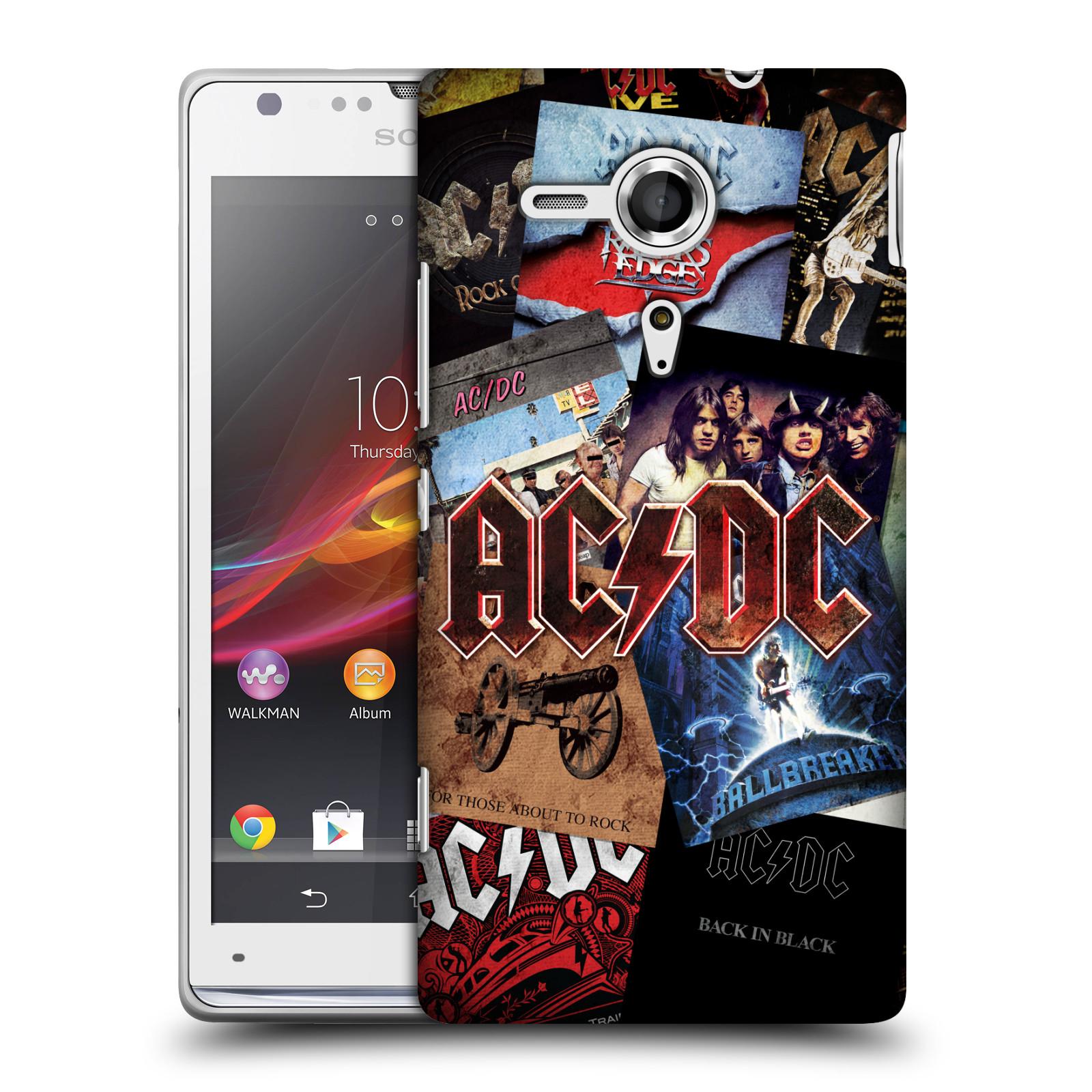 Plastové pouzdro na mobil Sony Xperia SP C5303 HEAD CASE AC/DC Koláž desek (Plastový kryt či obal na mobilní telefon s oficiálním motivem australské skupiny AC/DC pro Sony Xperia SP)