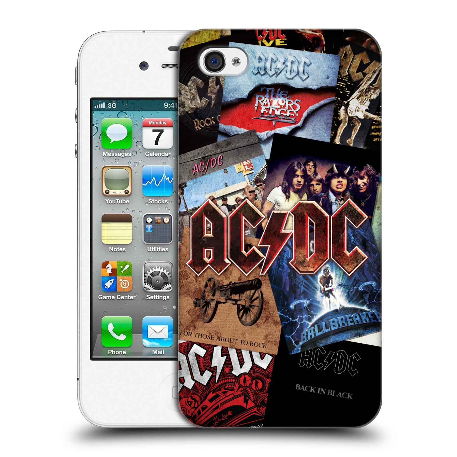 Plastové pouzdro na mobil Apple iPhone 4 a 4S HEAD CASE AC/DC Koláž desek