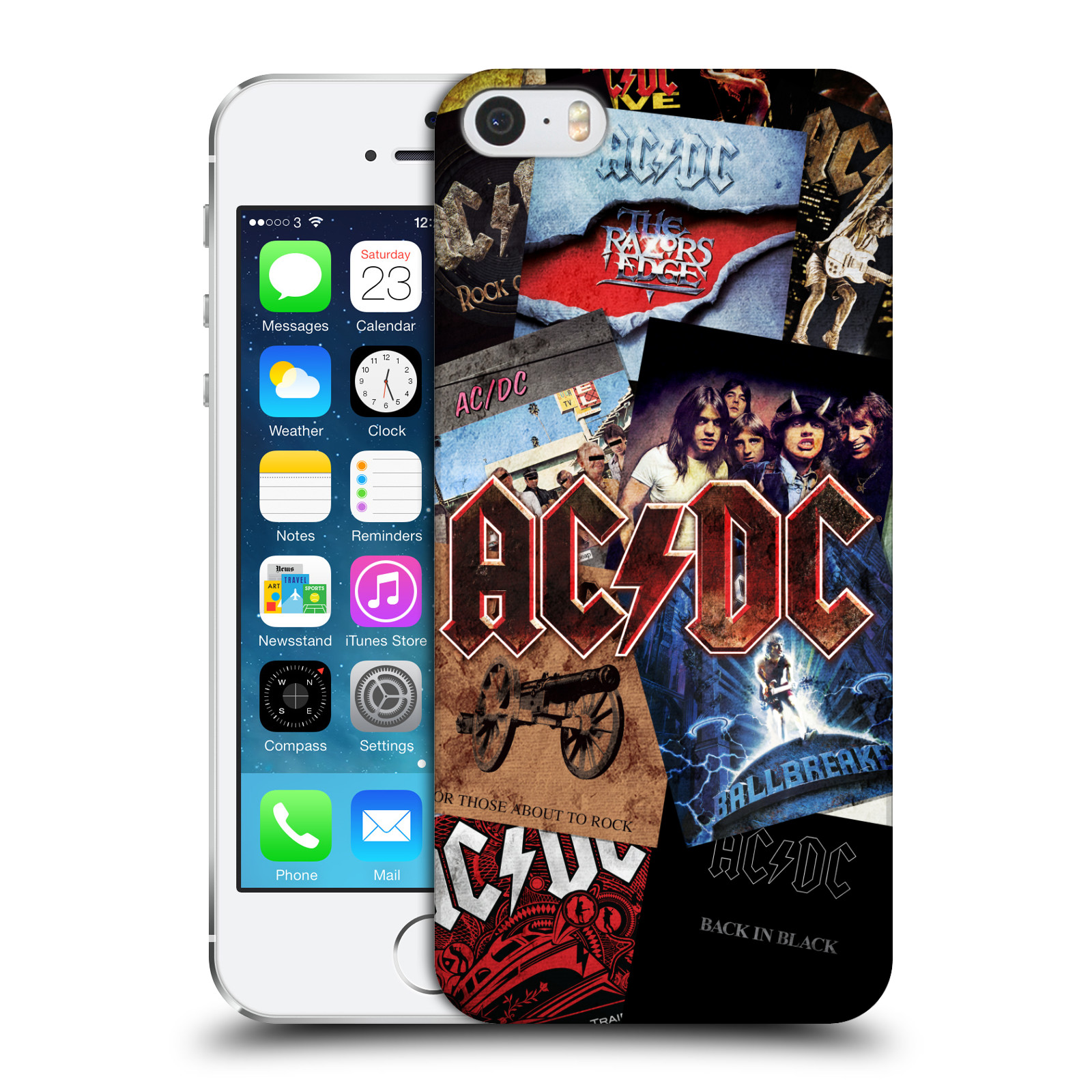 Plastové pouzdro na mobil Apple iPhone SE, 5 a 5S HEAD CASE AC/DC Koláž desek