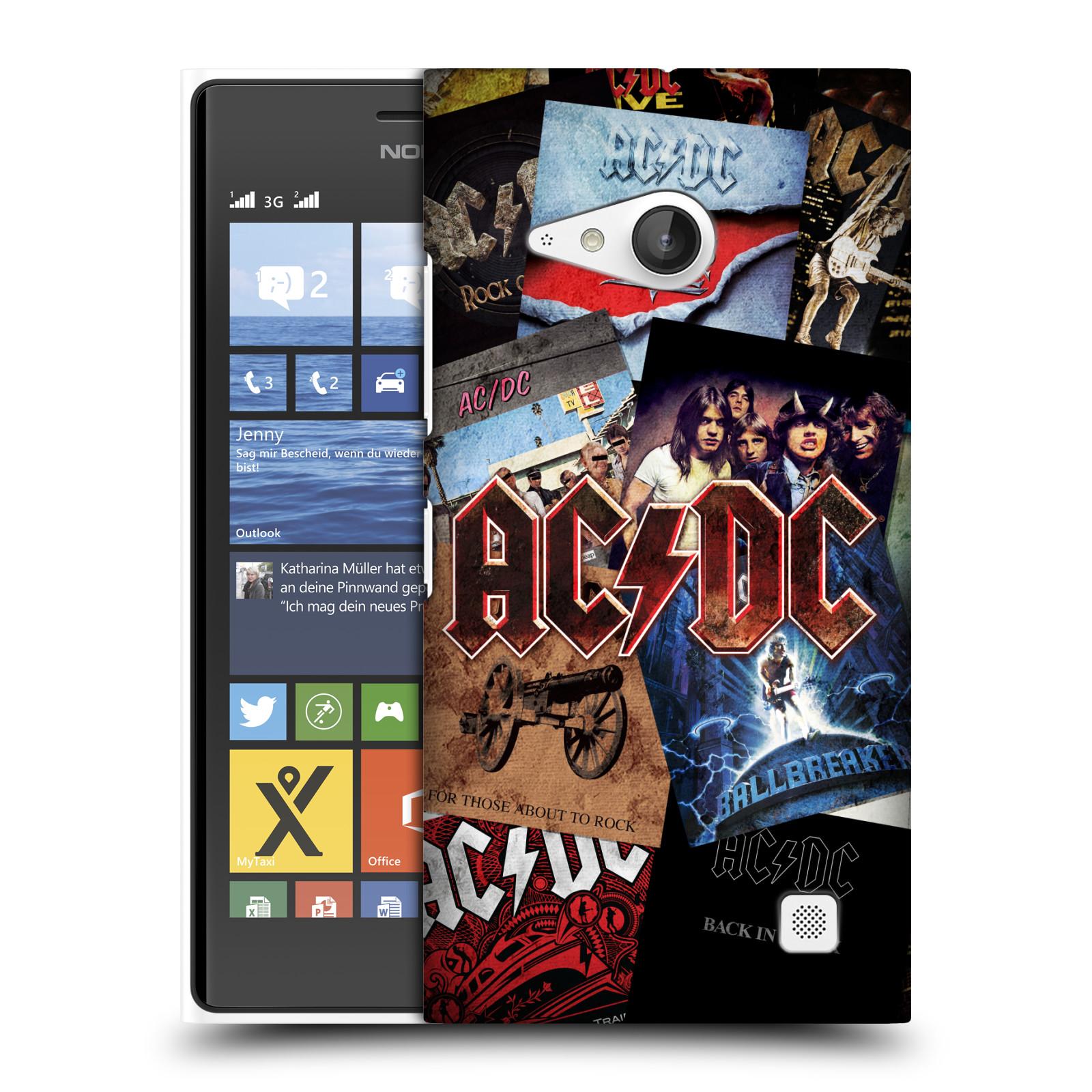 Plastové pouzdro na mobil Nokia Lumia 735 HEAD CASE AC/DC Koláž desek