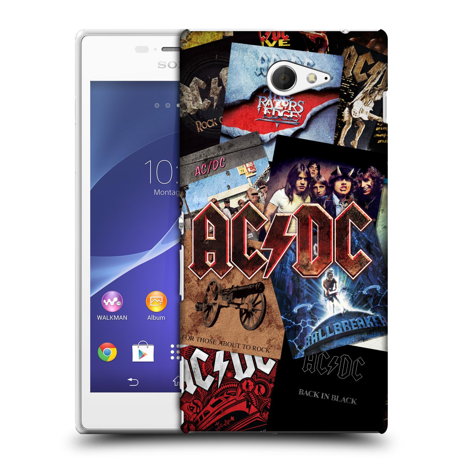 Plastové pouzdro na mobil Sony Xperia M2 D2303 HEAD CASE AC/DC Koláž desek (Plastový kryt či obal na mobilní telefon s oficiálním motivem australské skupiny AC/DC pro Sony Xperia M2 )