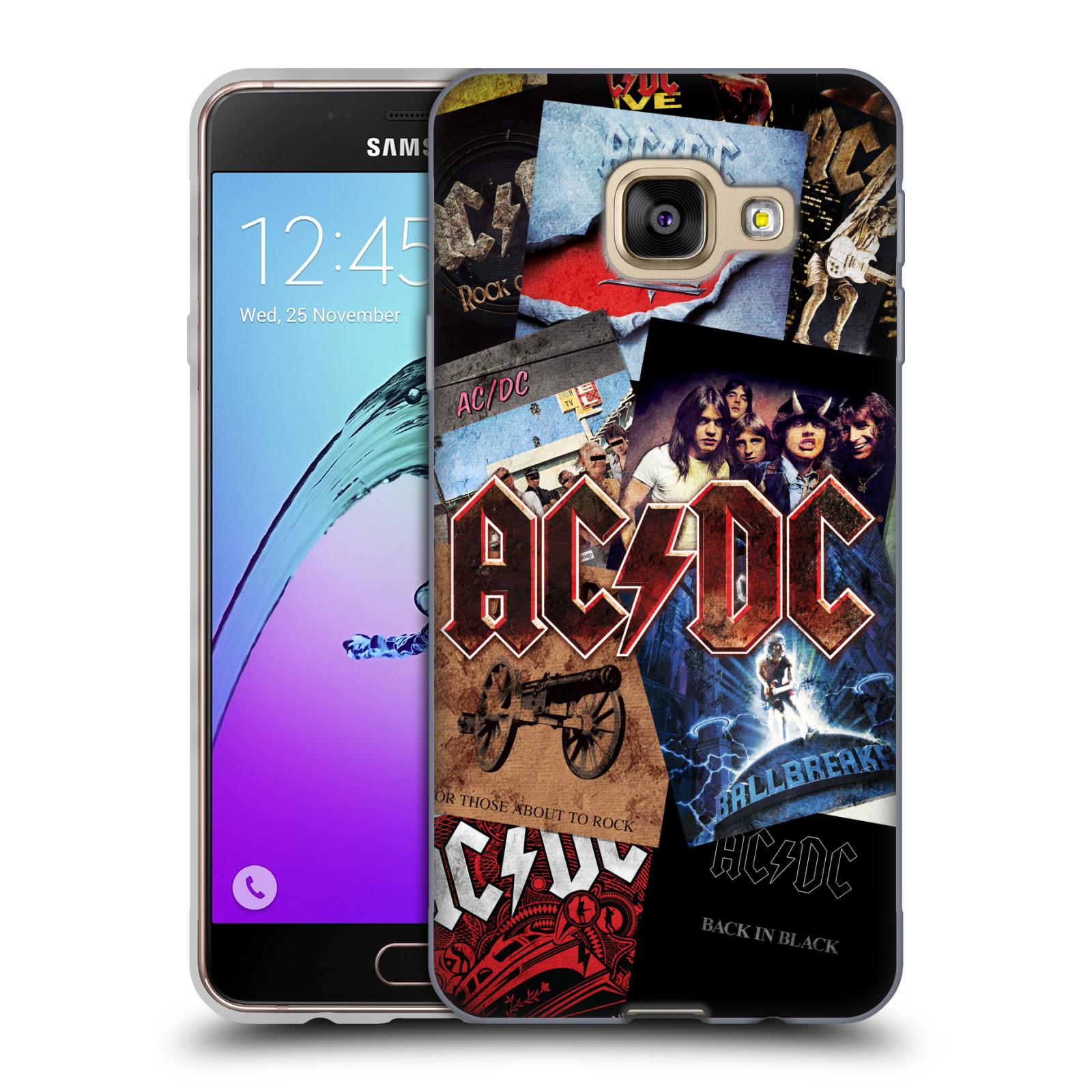 Silikonové pouzdro na mobil Samsung Galaxy A3 (2016) HEAD CASE AC/DC Koláž desek