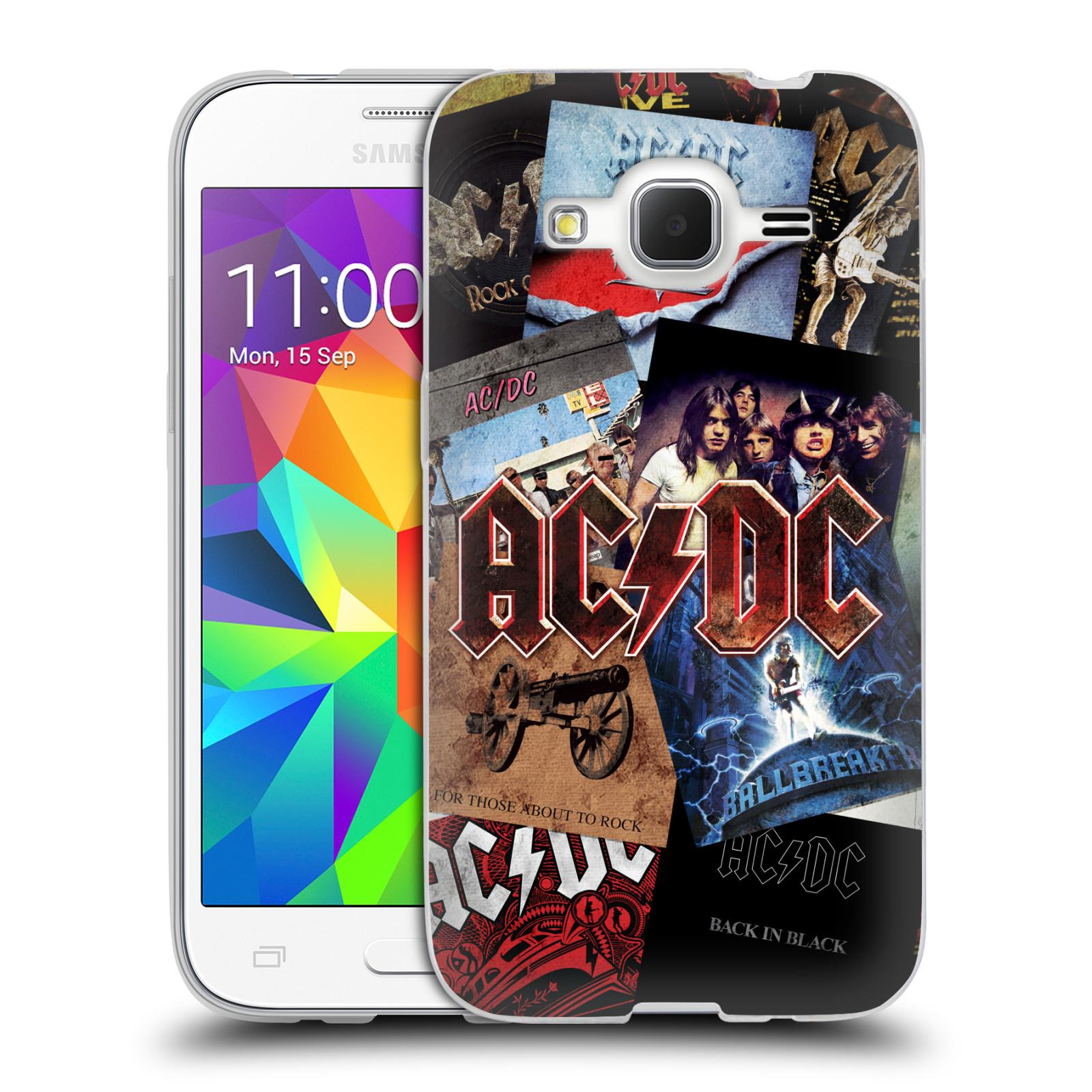 Silikonové pouzdro na mobil Samsung Galaxy Core Prime LTE HEAD CASE AC/DC Koláž desek