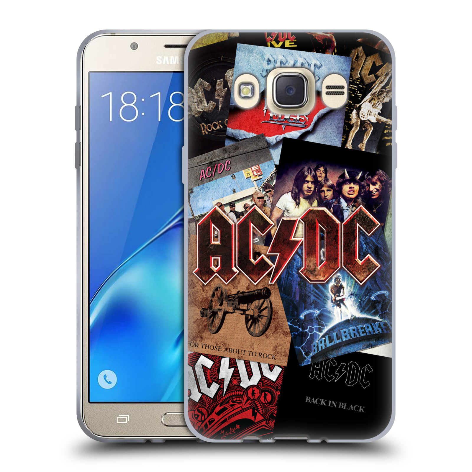 Silikonové pouzdro na mobil Samsung Galaxy J7 (2016) HEAD CASE AC/DC Koláž desek