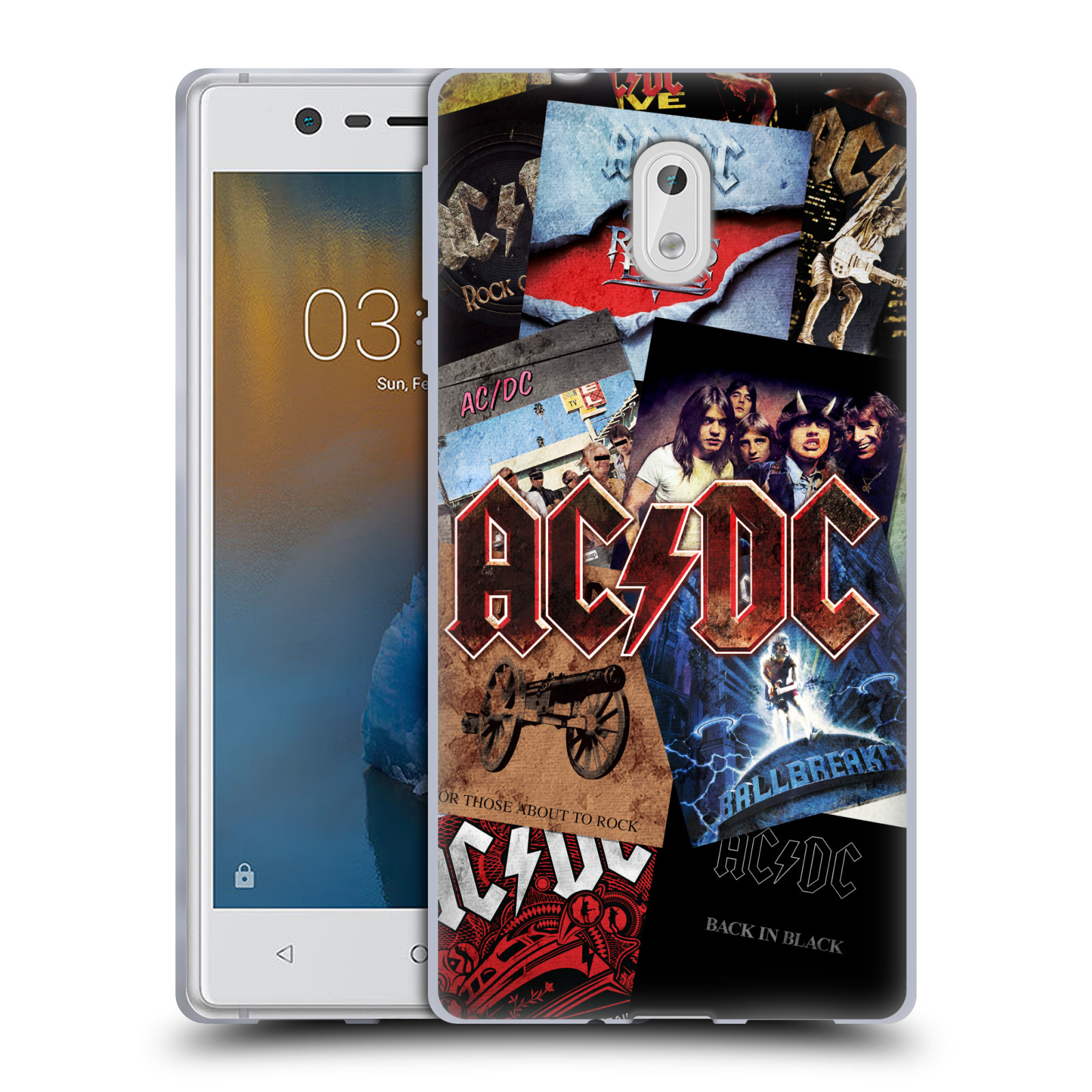 Silikonové pouzdro na mobil Nokia 3 Head Case - AC/DC Koláž desek