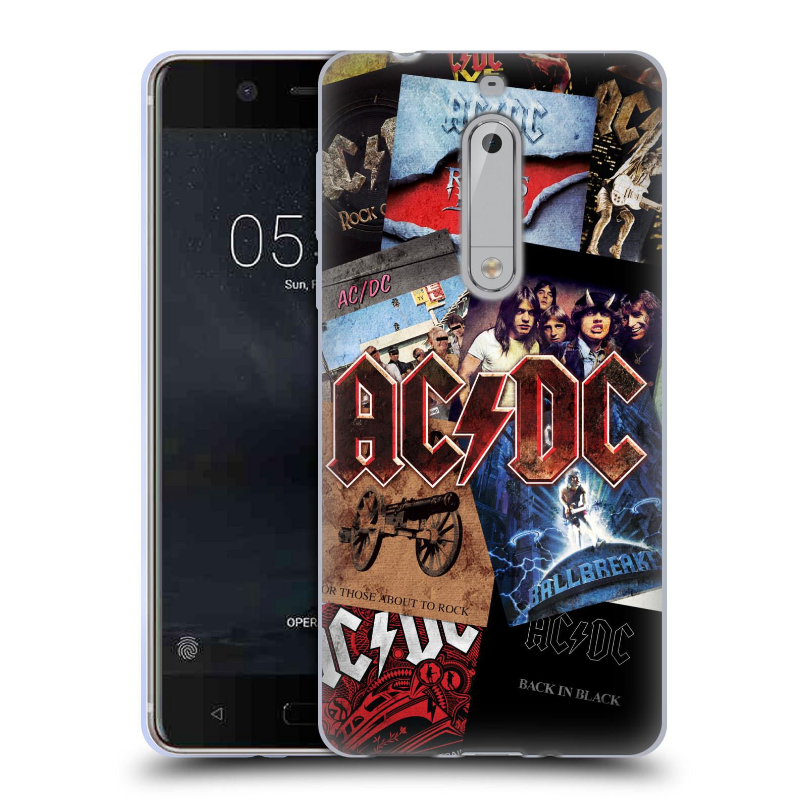 Silikonové pouzdro na mobil Nokia 5 Head Case - AC/DC Koláž desek