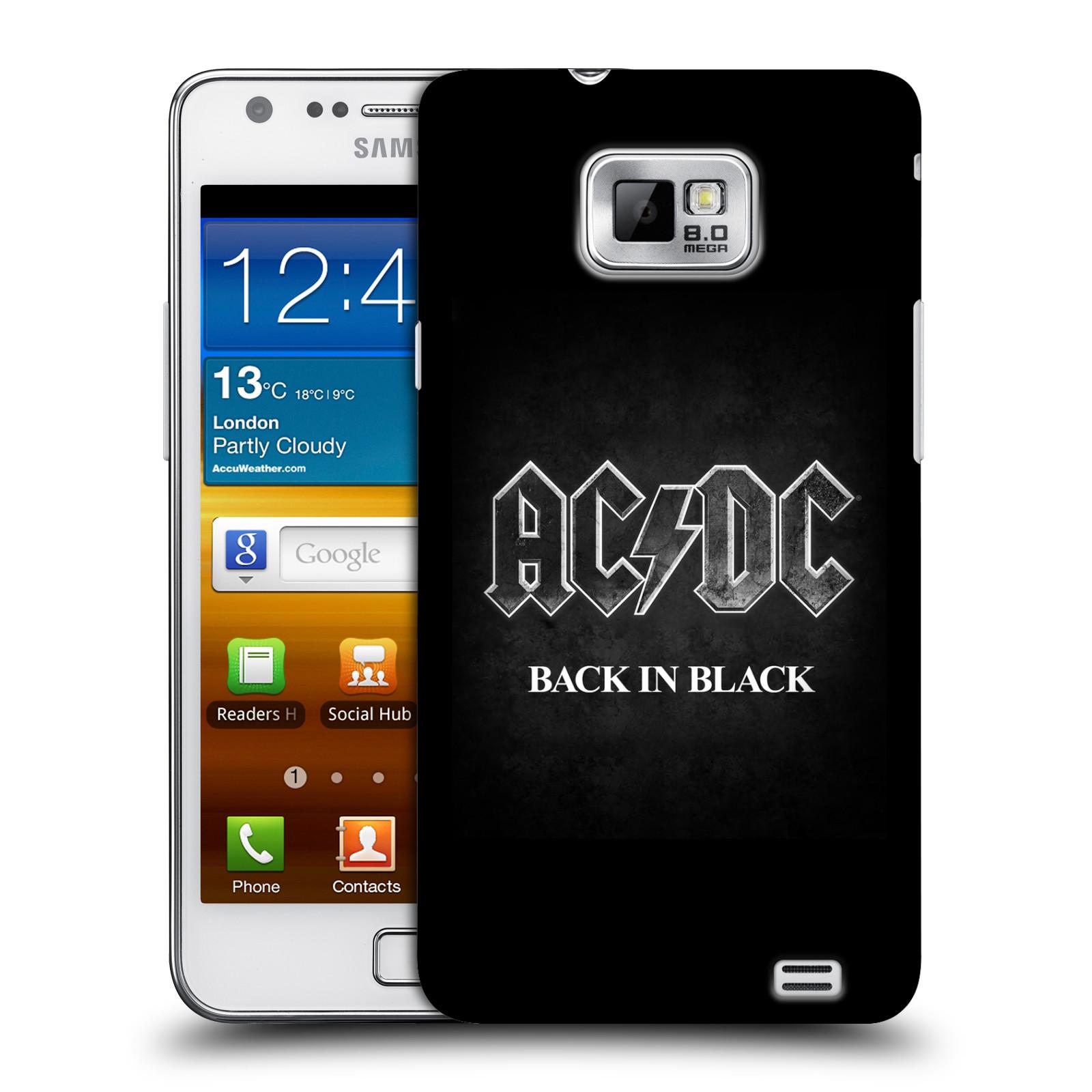 Plastové pouzdro na mobil Samsung Galaxy S II HEAD CASE AC/DC BACK IN BLACK (Plastový kryt či obal na mobilní telefon s oficiálním motivem australské skupiny AC/DC pro Samsung Galaxy S II GT-i9100)