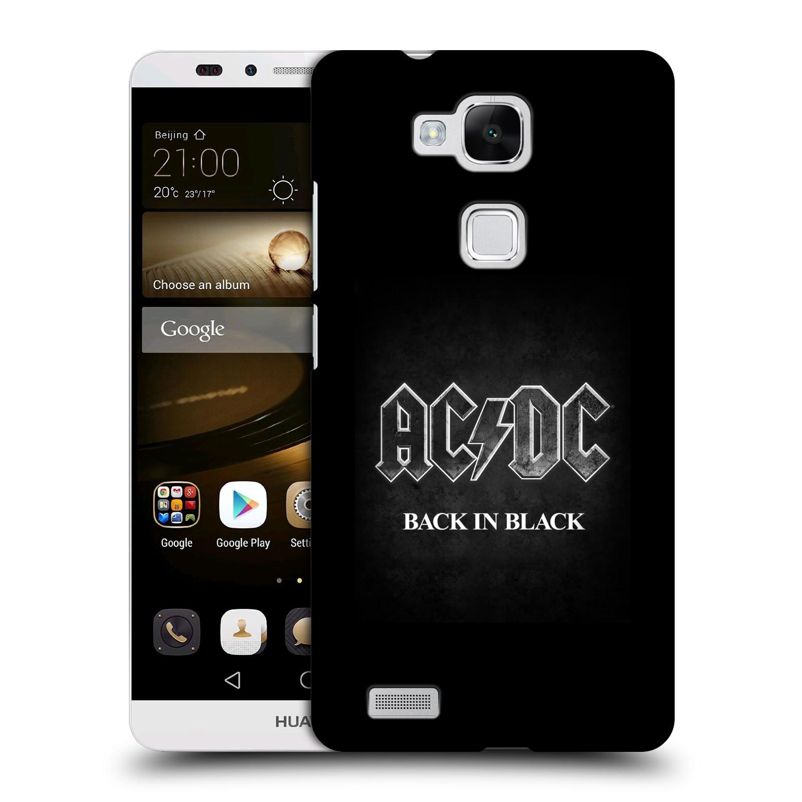 Plastové pouzdro na mobil Huawei Ascend Mate 7 HEAD CASE AC/DC BACK IN BLACK (Plastový kryt či obal na mobilní telefon s oficiálním motivem australské skupiny AC/DC pro Huawei Ascend Mate7)