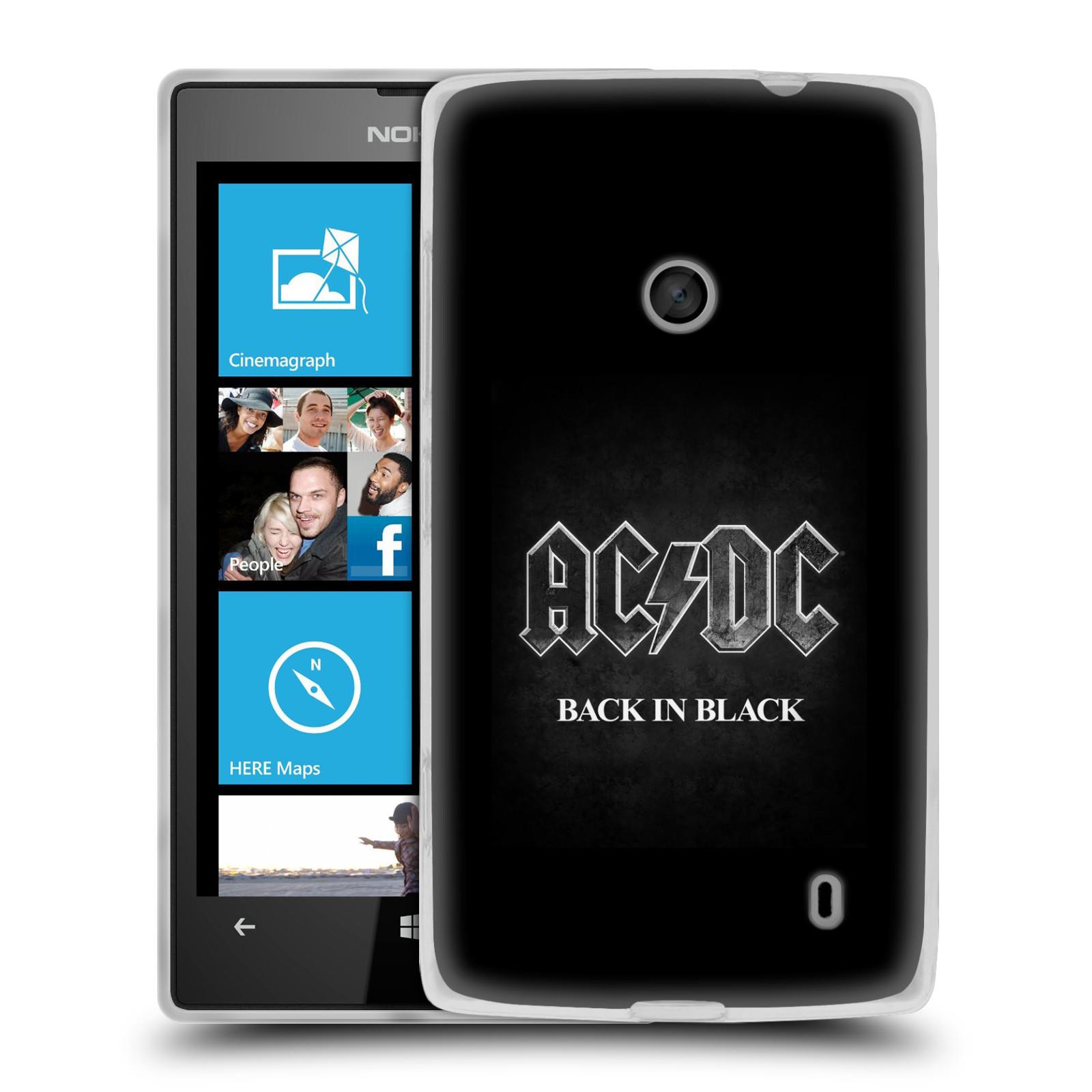 Silikonové pouzdro na mobil Nokia Lumia 520 HEAD CASE AC/DC BACK IN BLACK (Silikonový kryt či obal na mobilní telefon s oficiálním motivem australské skupiny AC/DC pro Nokia Lumia 520)