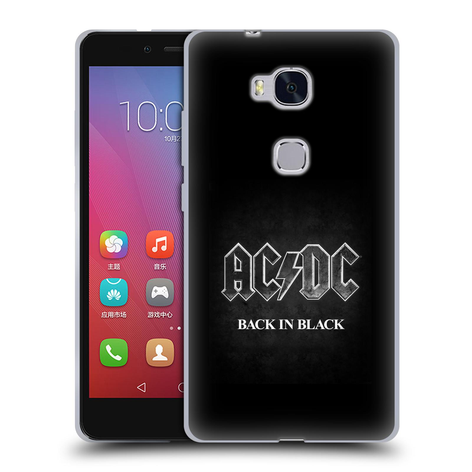 Silikonové pouzdro na mobil Honor 5X HEAD CASE AC/DC BACK IN BLACK (Silikonový kryt či obal na mobilní telefon s oficiálním motivem australské skupiny AC/DC pro Huawei Honor 5X)