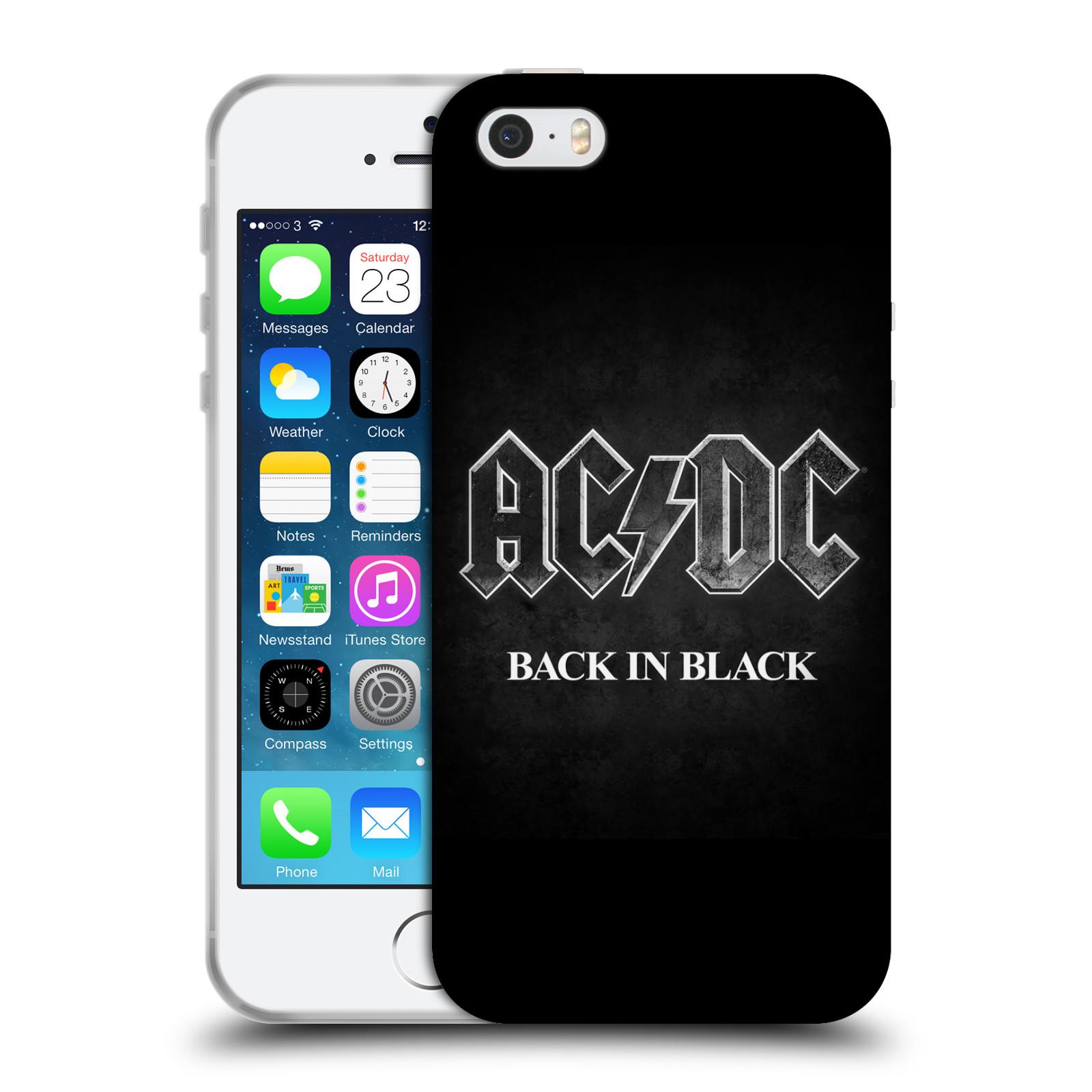 Silikonové pouzdro na mobil Apple iPhone SE, 5 a 5S HEAD CASE AC/DC BACK IN BLACK (Silikonový kryt či obal na mobilní telefon s oficiálním motivem australské skupiny AC/DC pro Apple iPhone SE, 5 a 5S)