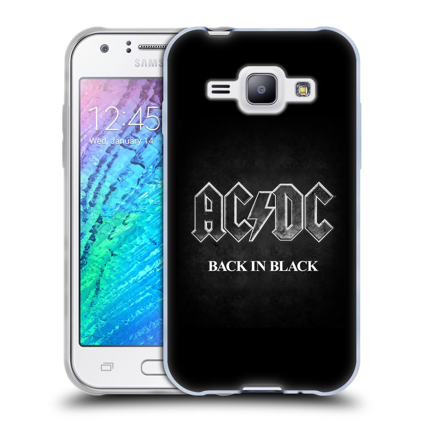 Silikonové pouzdro na mobil Samsung Galaxy J1 HEAD CASE AC/DC BACK IN BLACK (Silikonový kryt či obal na mobilní telefon s oficiálním motivem australské skupiny AC/DC pro Samsung Galaxy J1 a J1 Duos)