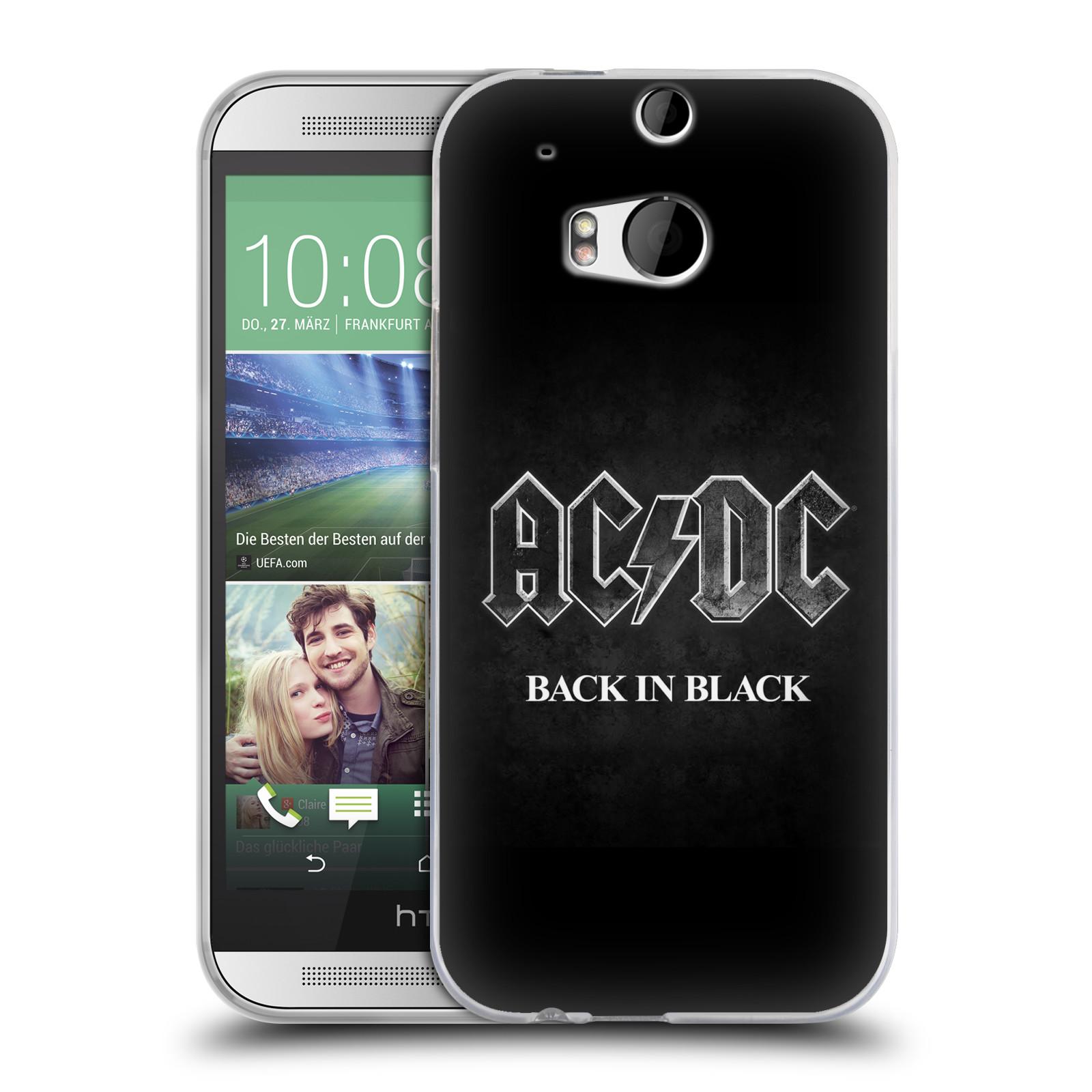 Silikonové pouzdro na mobil HTC ONE M8 HEAD CASE AC/DC BACK IN BLACK (Silikonový kryt či obal na mobilní telefon s oficiálním motivem australské skupiny AC/DC pro HTC ONE M8)