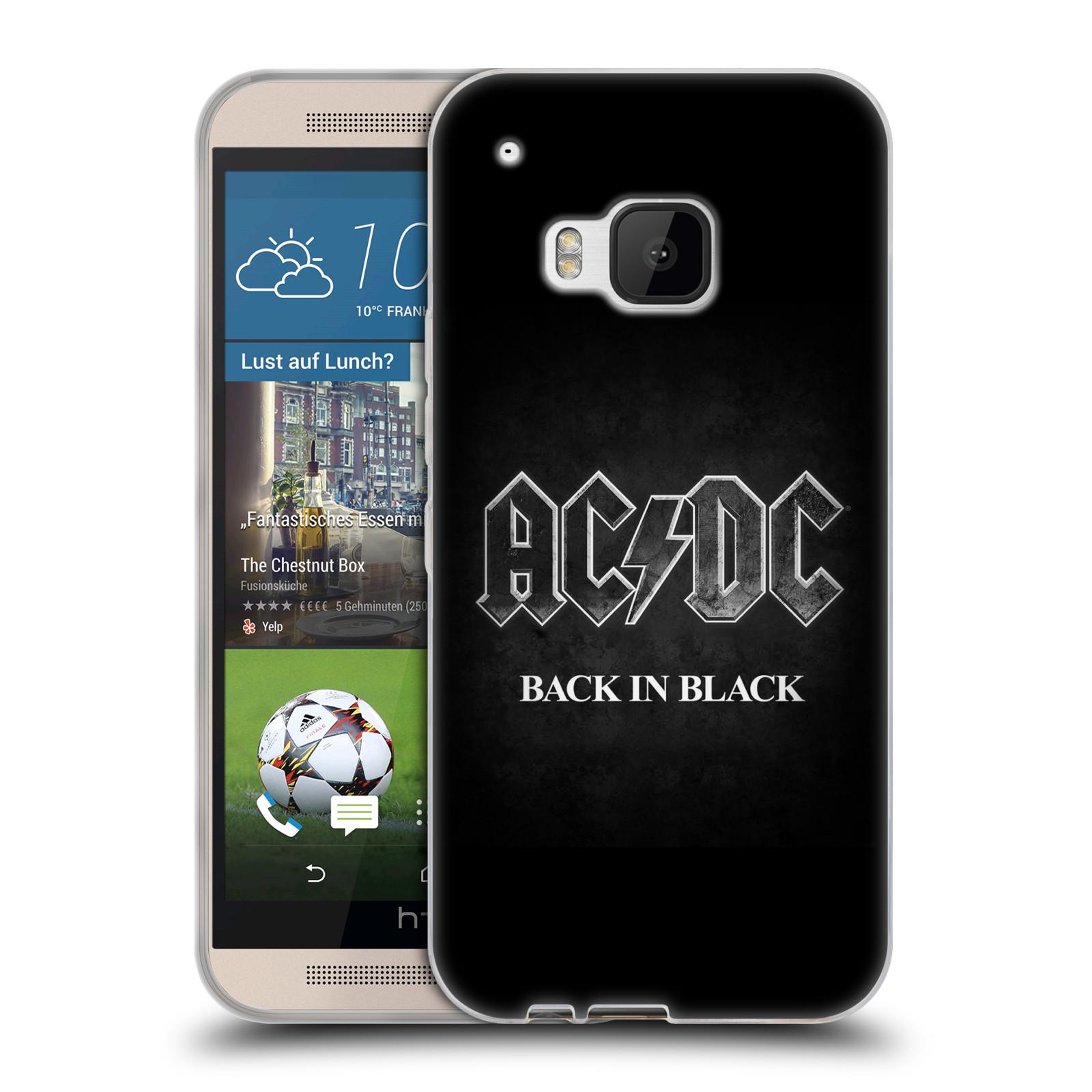 Silikonové pouzdro na mobil HTC ONE M9 HEAD CASE AC/DC BACK IN BLACK (Silikonový kryt či obal na mobilní telefon s oficiálním motivem australské skupiny AC/DC pro HTC ONE M9)
