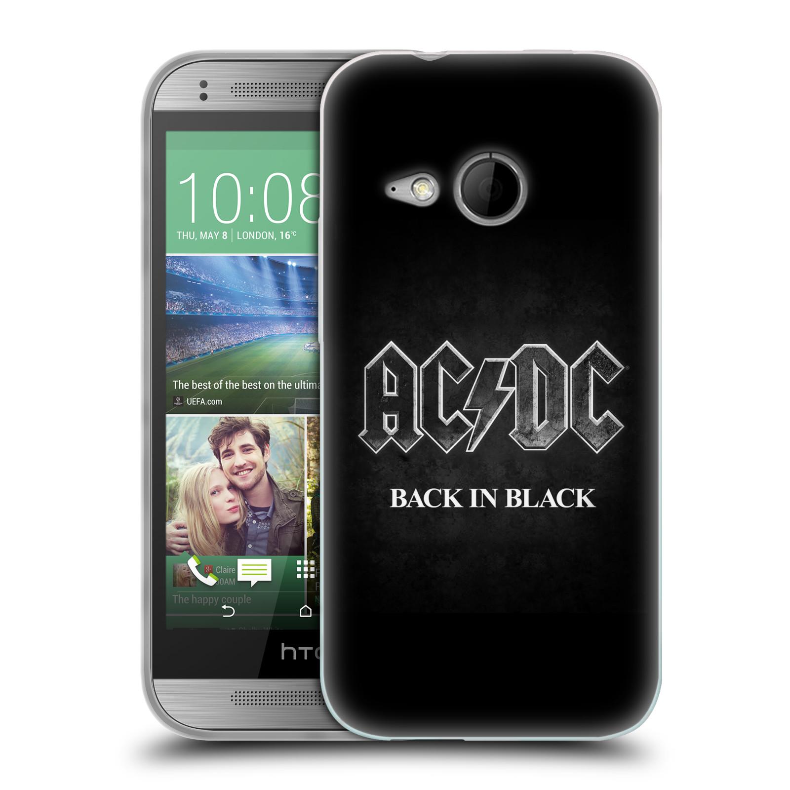 Silikonové pouzdro na mobil HTC ONE Mini 2 HEAD CASE AC/DC BACK IN BLACK (Silikonový kryt či obal na mobilní telefon s oficiálním motivem australské skupiny AC/DC pro HTC ONE Mini 2)