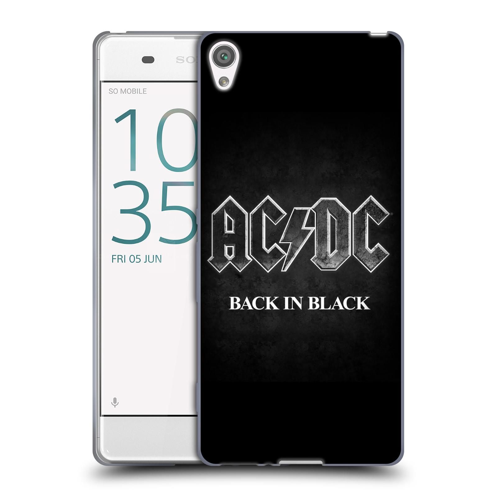Silikonové pouzdro na mobil Sony Xperia XA HEAD CASE AC/DC BACK IN BLACK (Silikonový kryt či obal na mobilní telefon s oficiálním motivem australské skupiny AC/DC pro Sony Xperia XA F3111 / Dual SIM F3112)