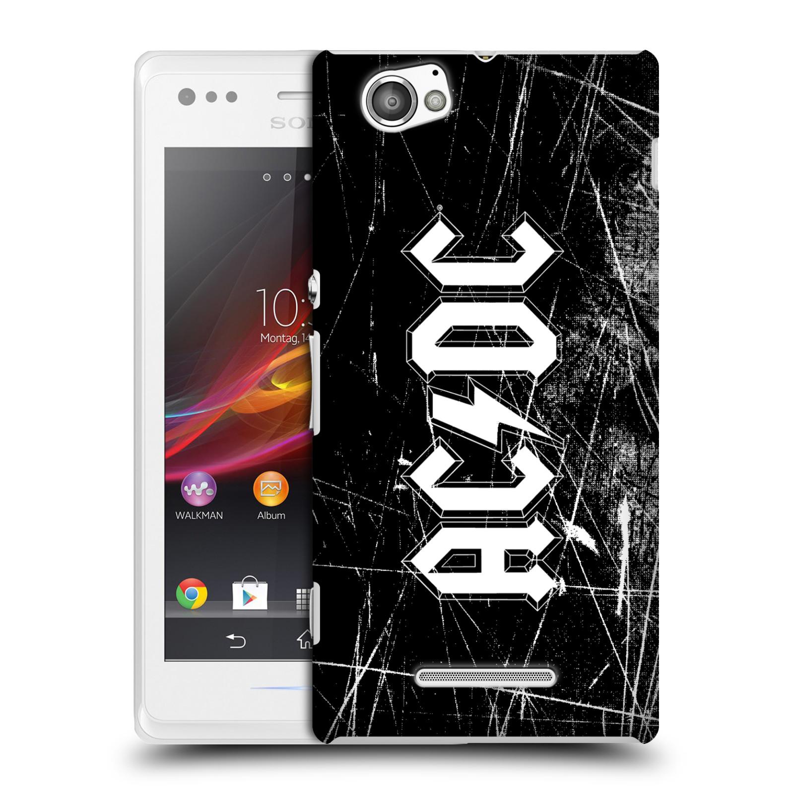 Plastové pouzdro na mobil Sony Xperia M C1905 HEAD CASE AC/DC Černobílé logo