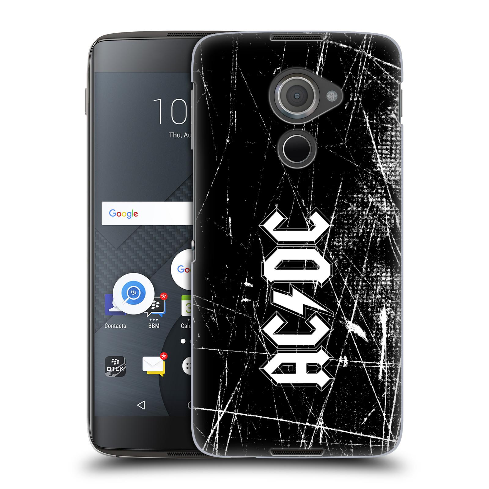 Plastové pouzdro na mobil Blackberry DTEK60 (Argon) - Head Case AC/DC Černobílé logo