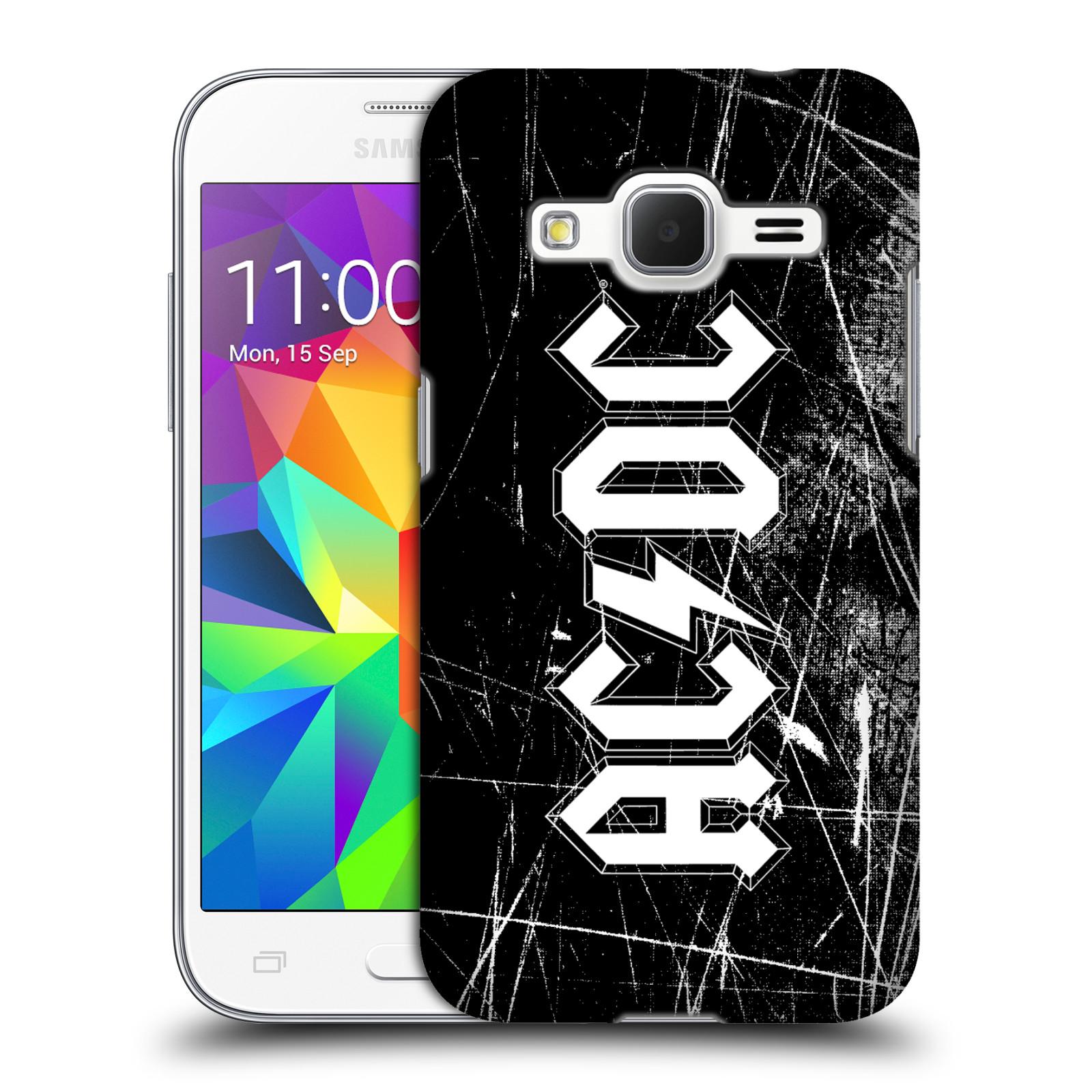 Plastové pouzdro na mobil Samsung Galaxy Core Prime VE HEAD CASE AC/DC Černobílé logo