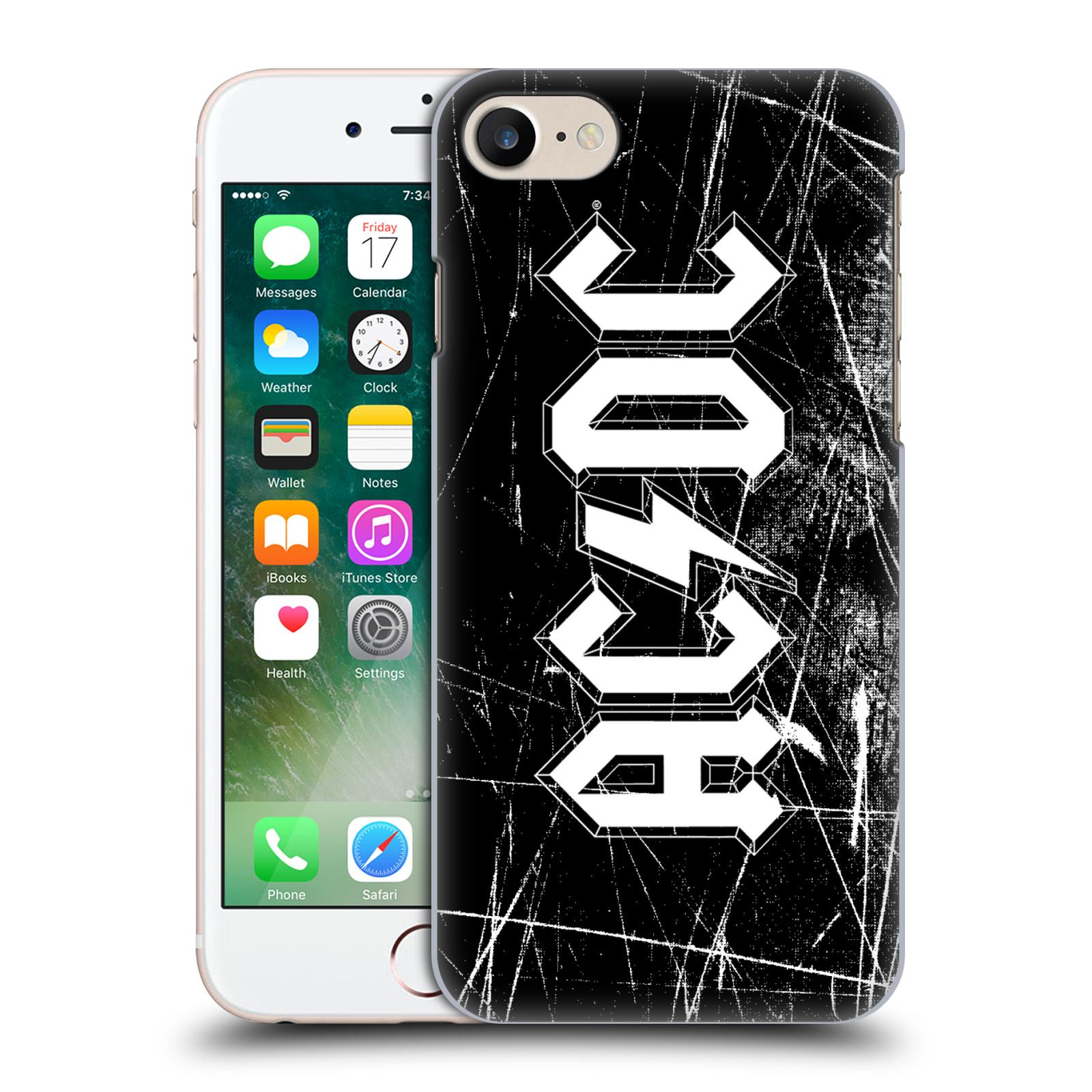 Plastové pouzdro na mobil Apple iPhone 7 HEAD CASE AC/DC Černobílé logo