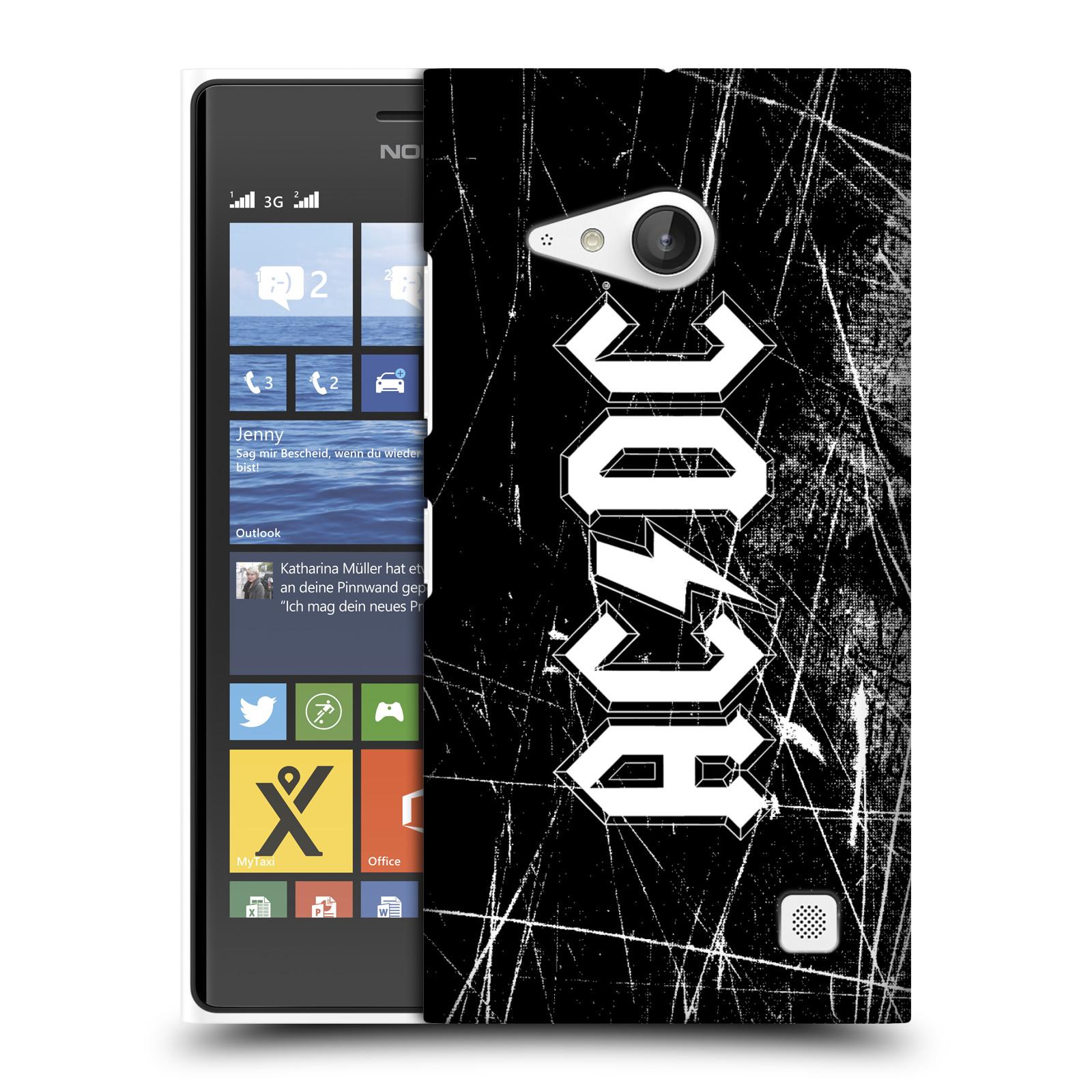 Plastové pouzdro na mobil Nokia Lumia 735 HEAD CASE AC/DC Černobílé logo