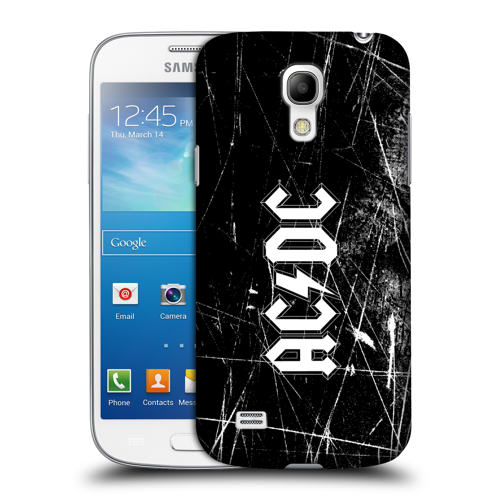 Plastové pouzdro na mobil Samsung Galaxy S4 Mini HEAD CASE AC/DC Černobílé logo