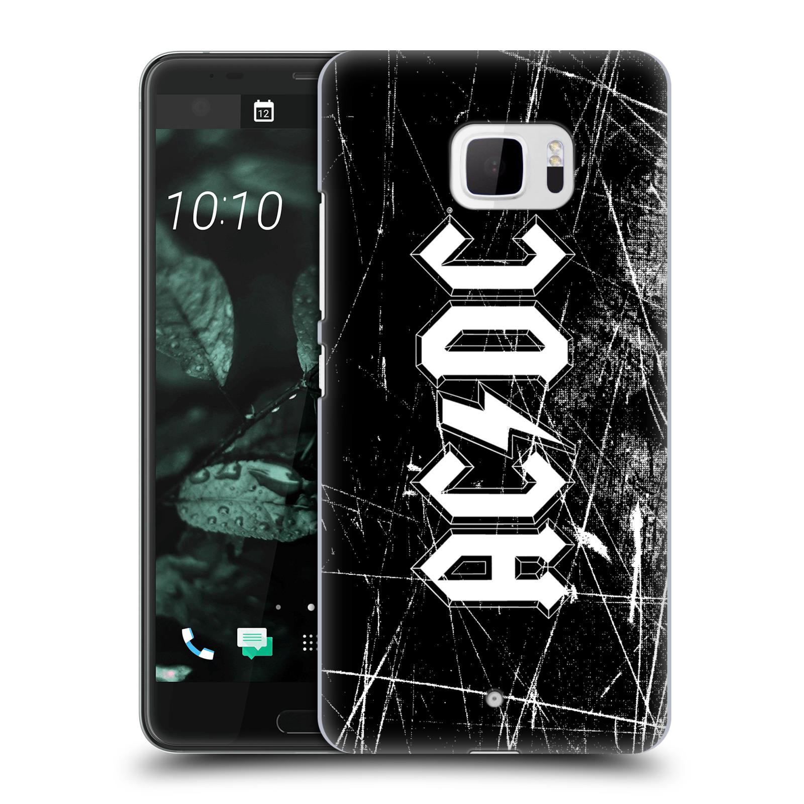 Plastové pouzdro na mobil HTC U Ultra Head Case - AC/DC Černobílé logo
