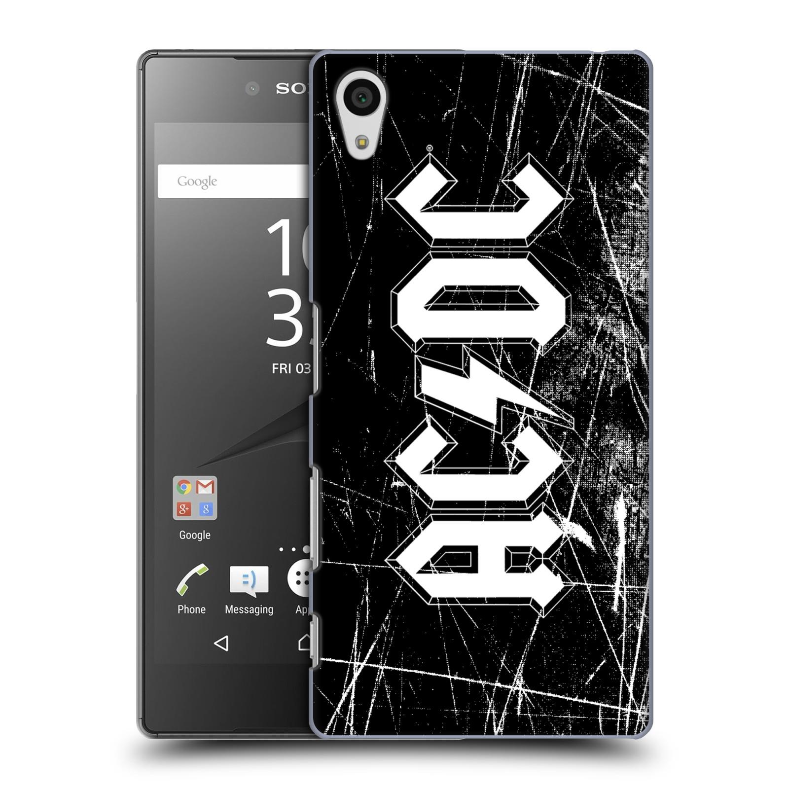 Plastové pouzdro na mobil Sony Xperia Z5 HEAD CASE AC/DC Černobílé logo