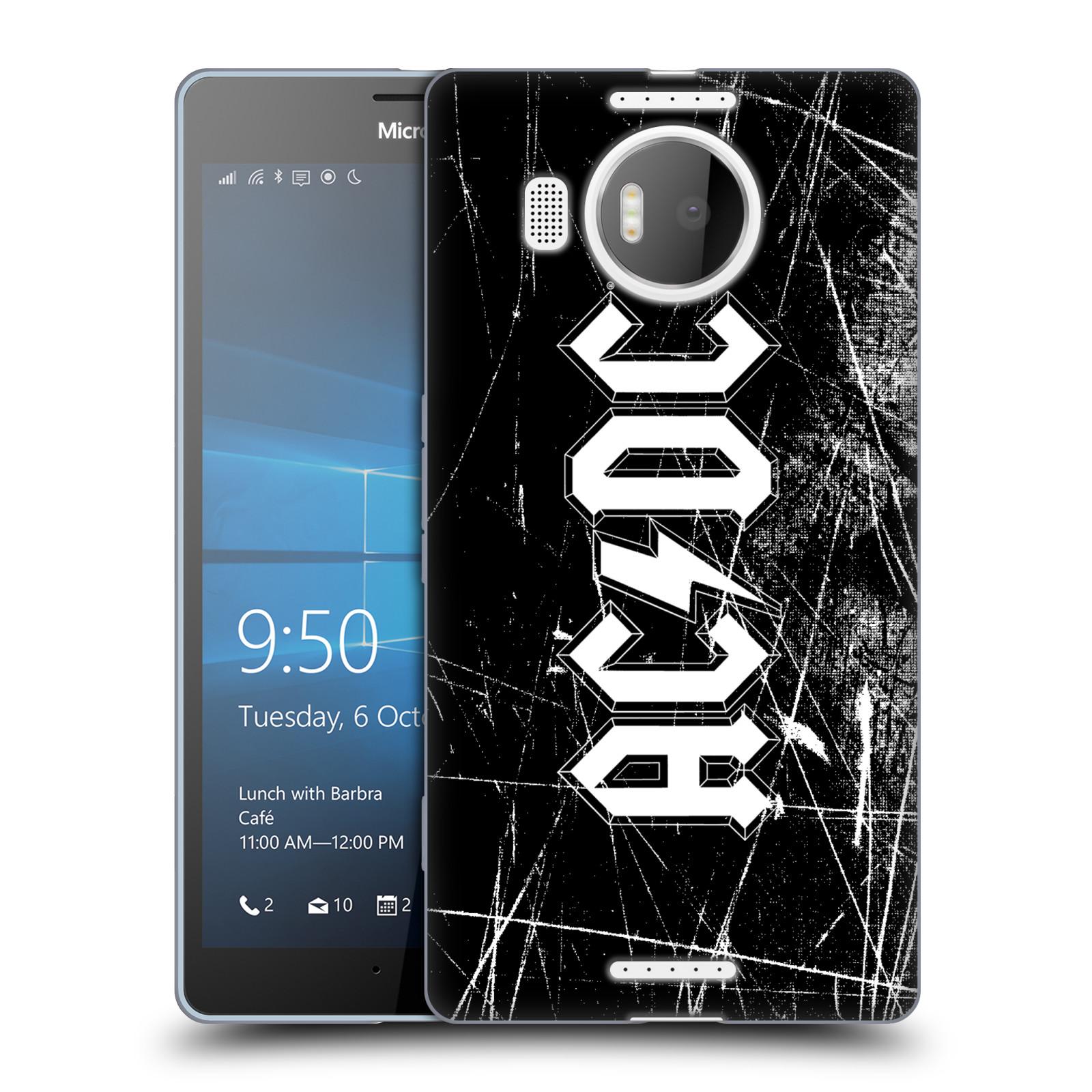 Silikonové pouzdro na mobil Microsoft Lumia 950 XL HEAD CASE AC/DC Černobílé logo