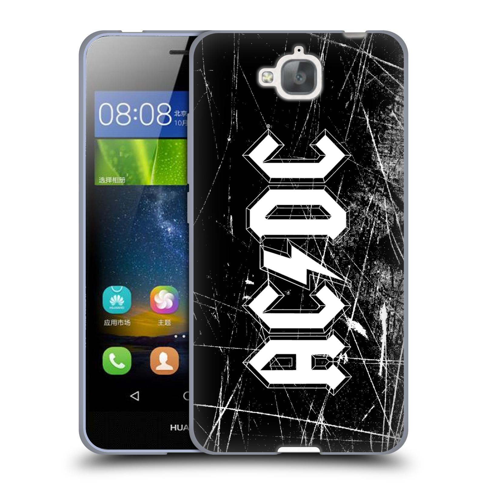 Silikonové pouzdro na mobil Huawei Y6 Pro Dual Sim HEAD CASE AC/DC Černobílé logo