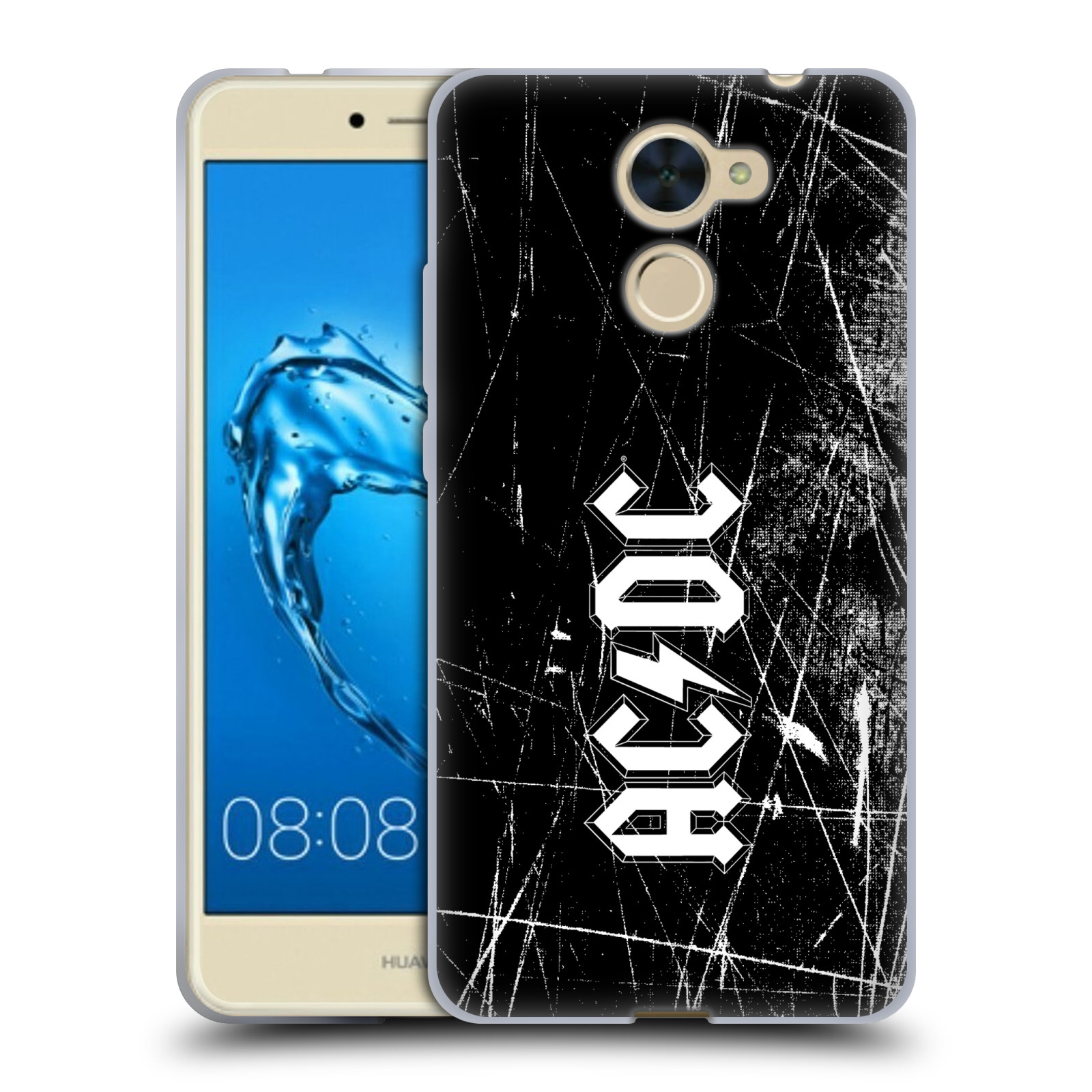 Silikonové pouzdro na mobil Huawei Y7 - Head Case - AC/DC Černobílé logo