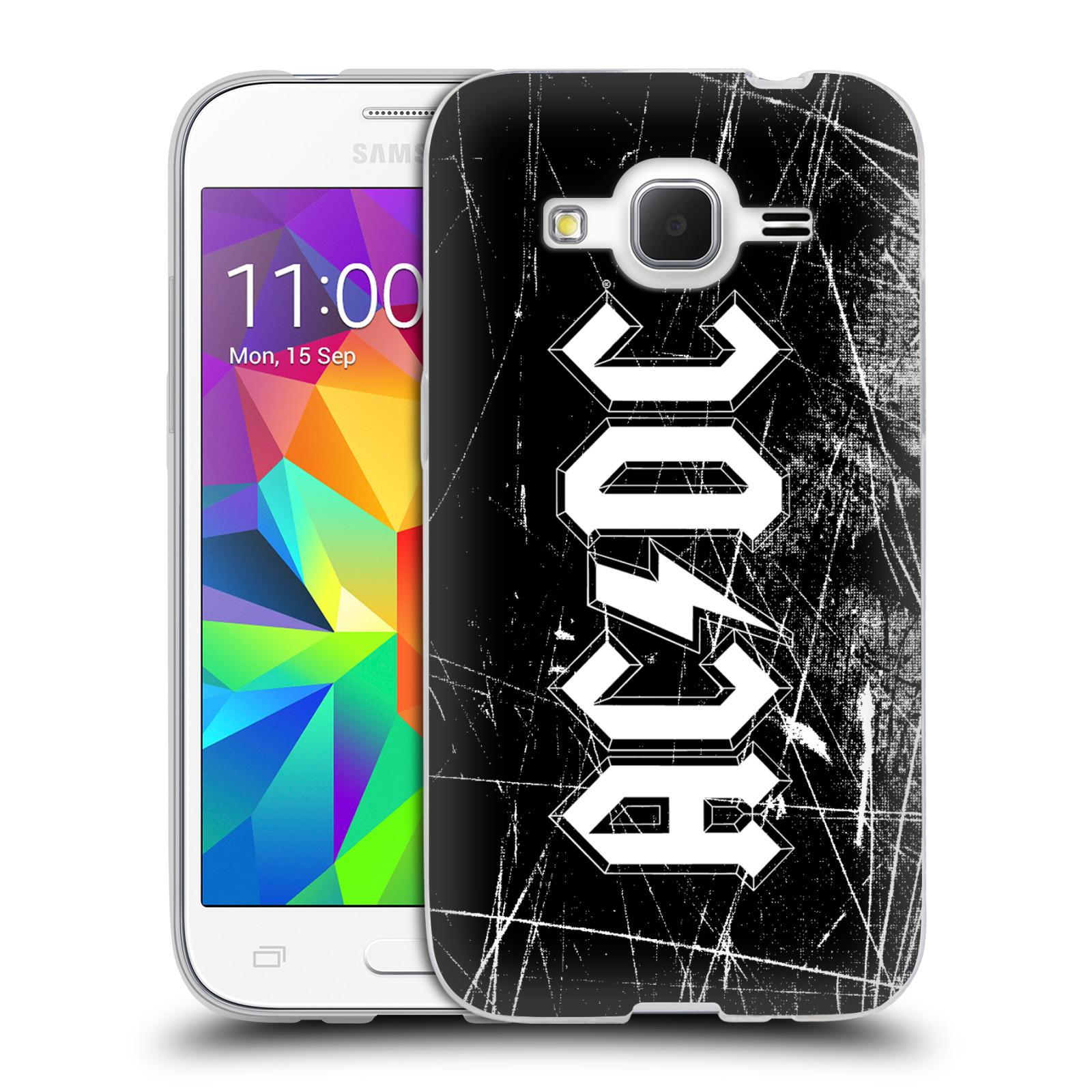 Silikonové pouzdro na mobil Samsung Galaxy Core Prime LTE HEAD CASE AC/DC Černobílé logo