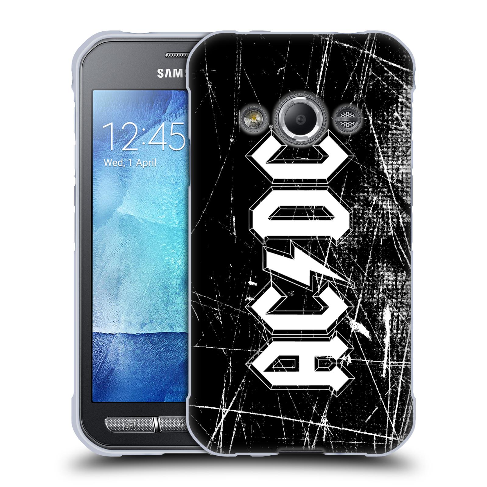 Silikonové pouzdro na mobil Samsung Galaxy Xcover 3 HEAD CASE AC/DC Černobílé logo