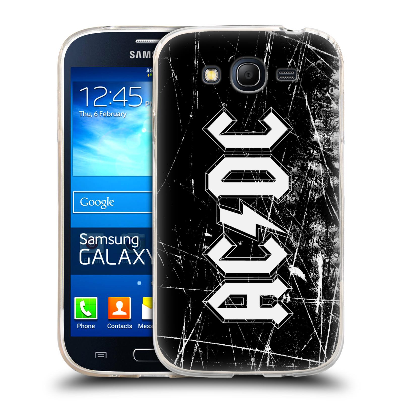 Silikonové pouzdro na mobil Samsung Galaxy Grand Neo Plus HEAD CASE AC/DC Černobílé logo