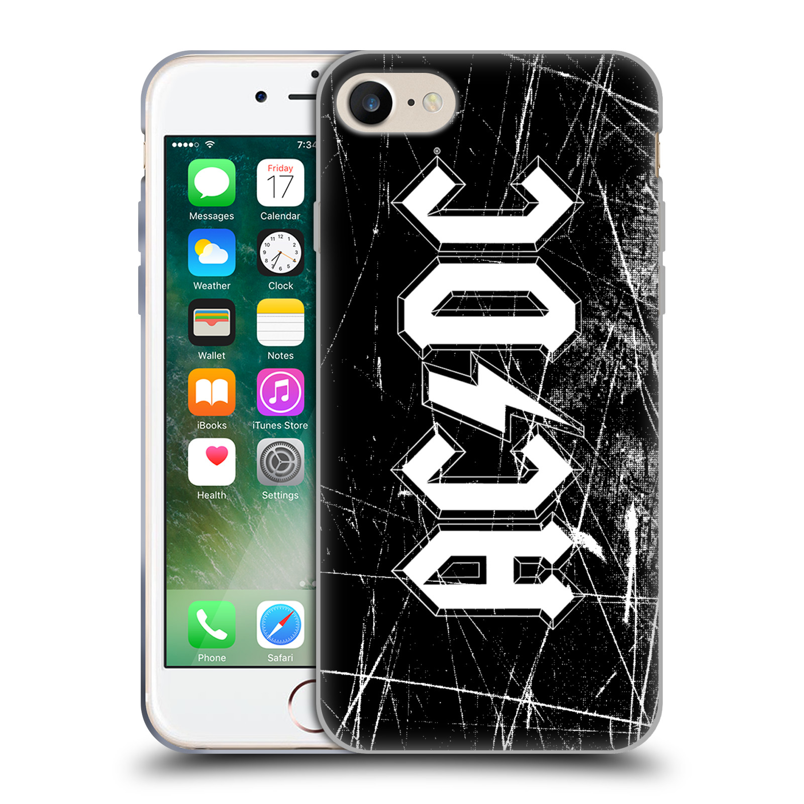 Silikonové pouzdro na mobil Apple iPhone 8 - Head Case - AC/DC Černobílé logo