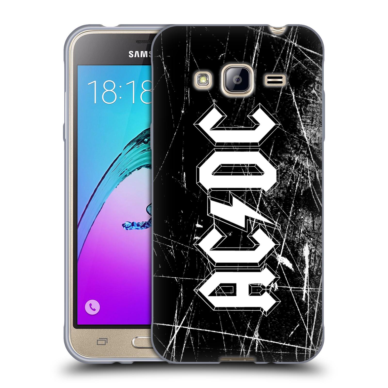 Silikonové pouzdro na mobil Samsung Galaxy J3 (2016) HEAD CASE AC/DC Černobílé logo