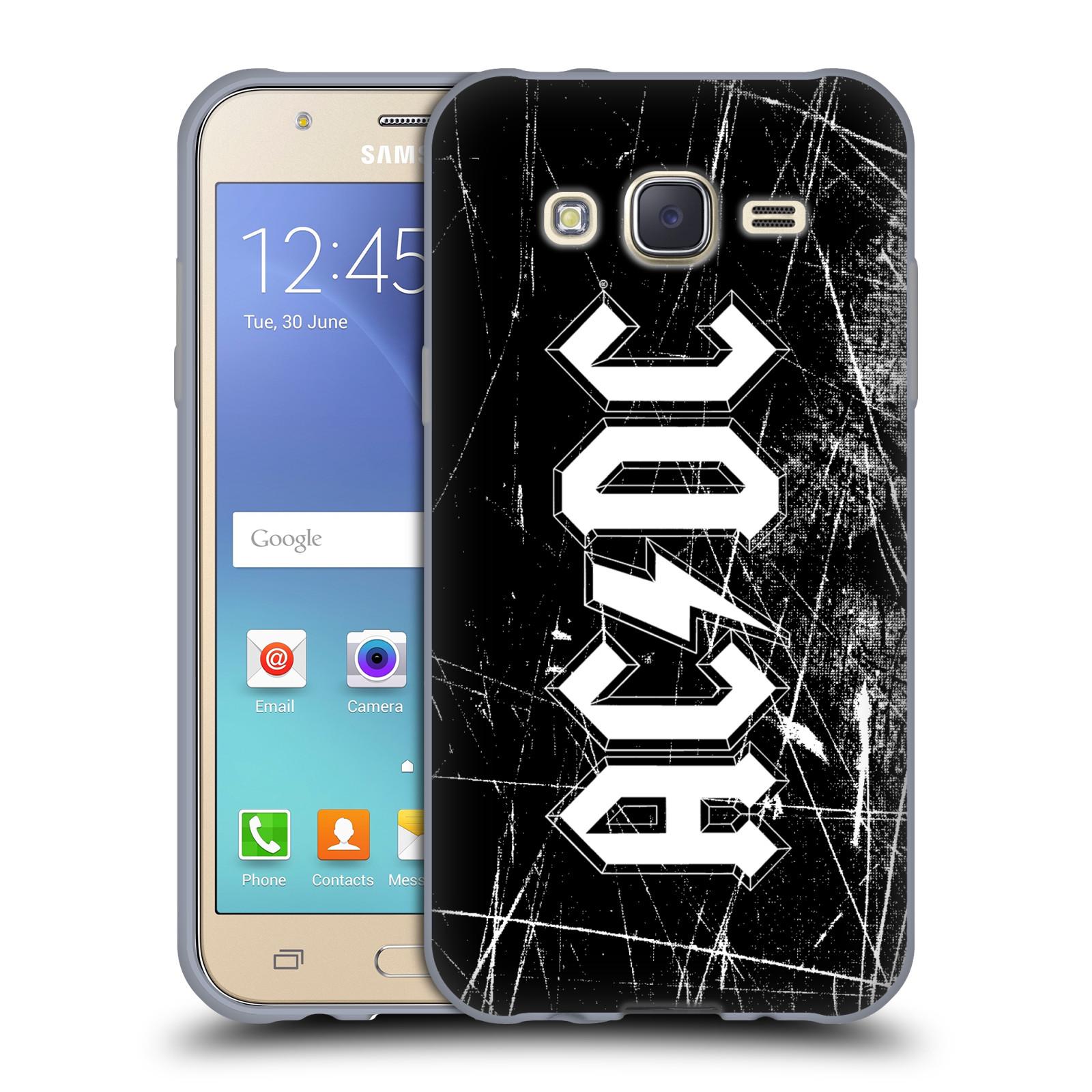 Silikonové pouzdro na mobil Samsung Galaxy J5 HEAD CASE AC/DC Černobílé logo