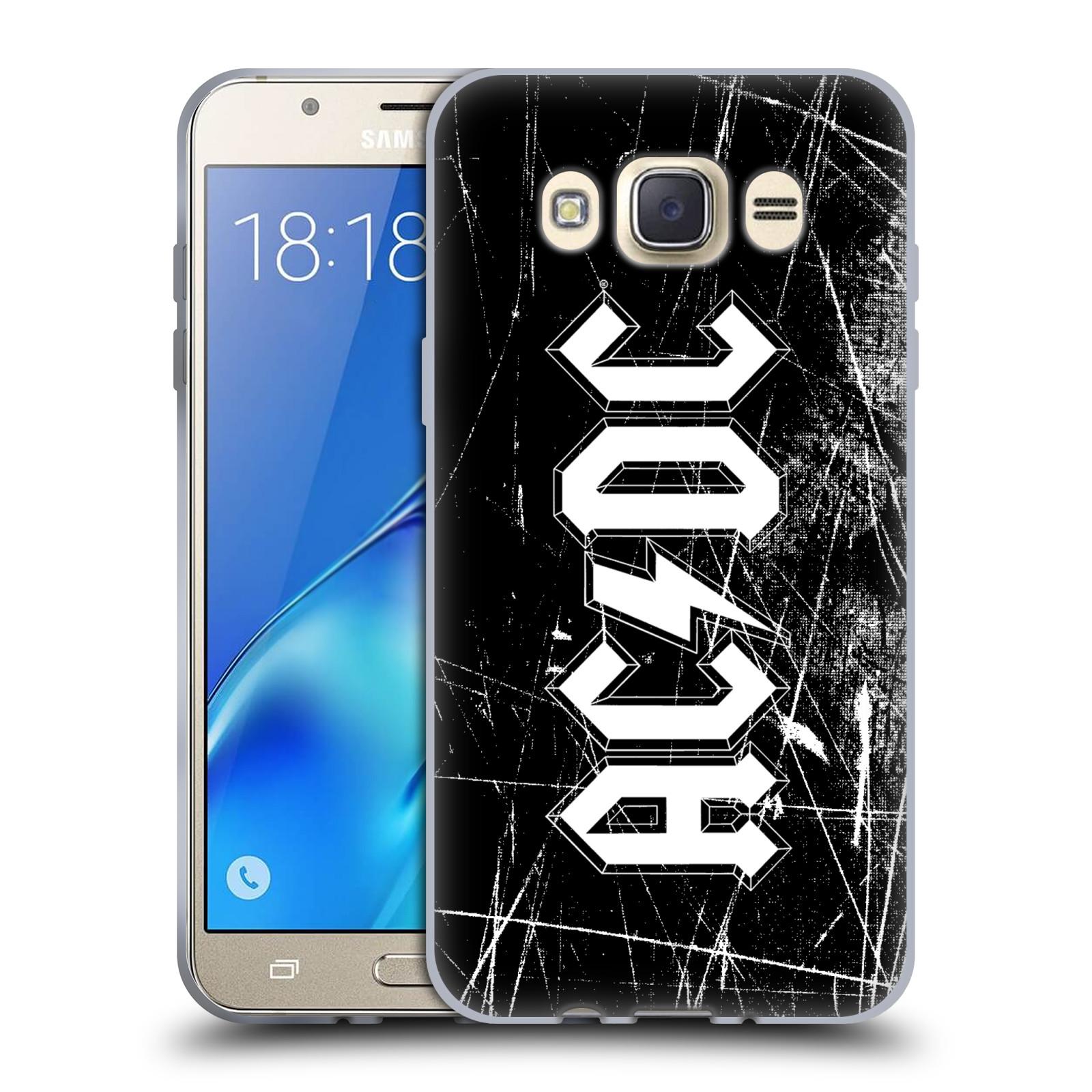 Silikonové pouzdro na mobil Samsung Galaxy J7 (2016) HEAD CASE AC/DC Černobílé logo
