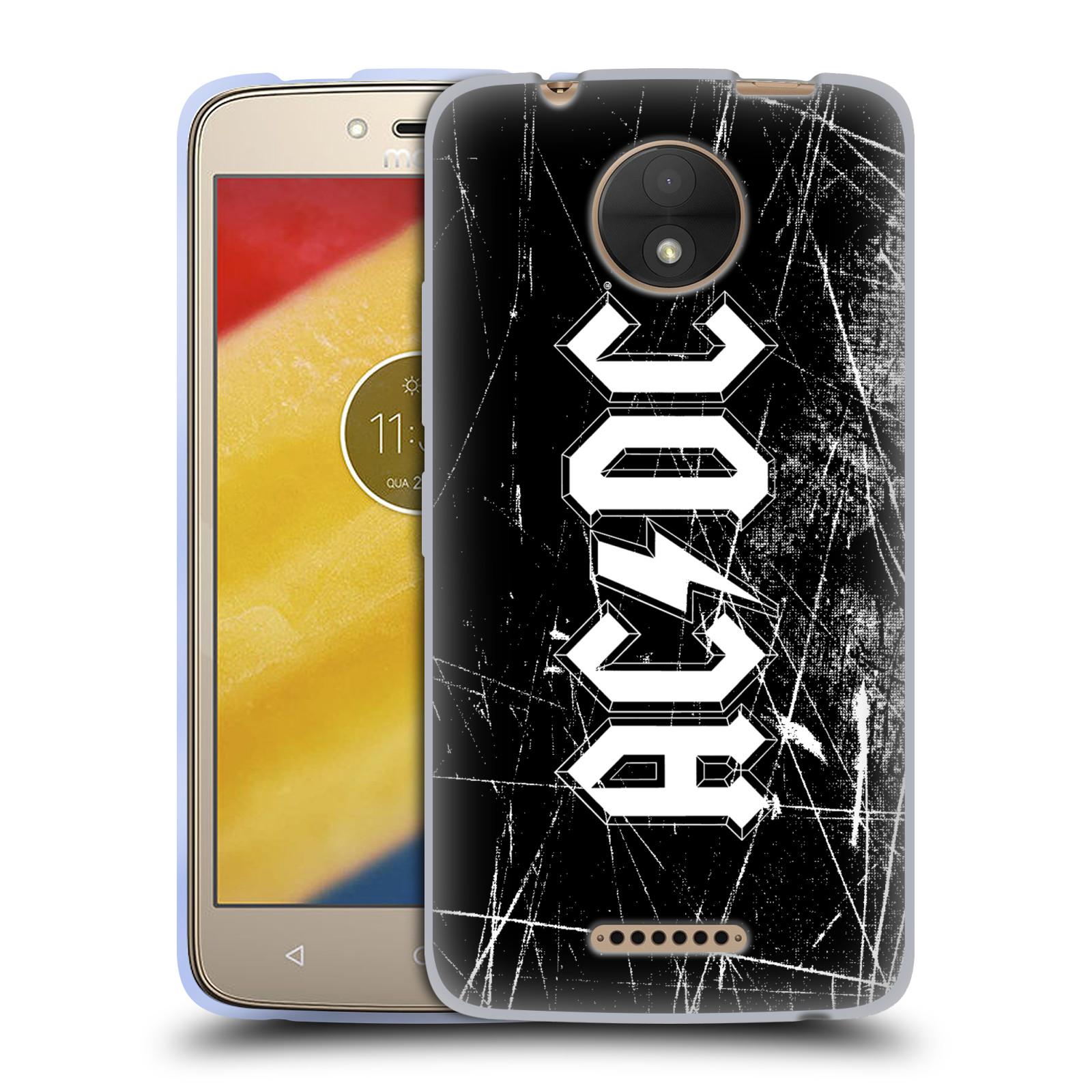 Silikonové pouzdro na mobil Lenovo Moto C - Head Case - AC/DC Černobílé logo