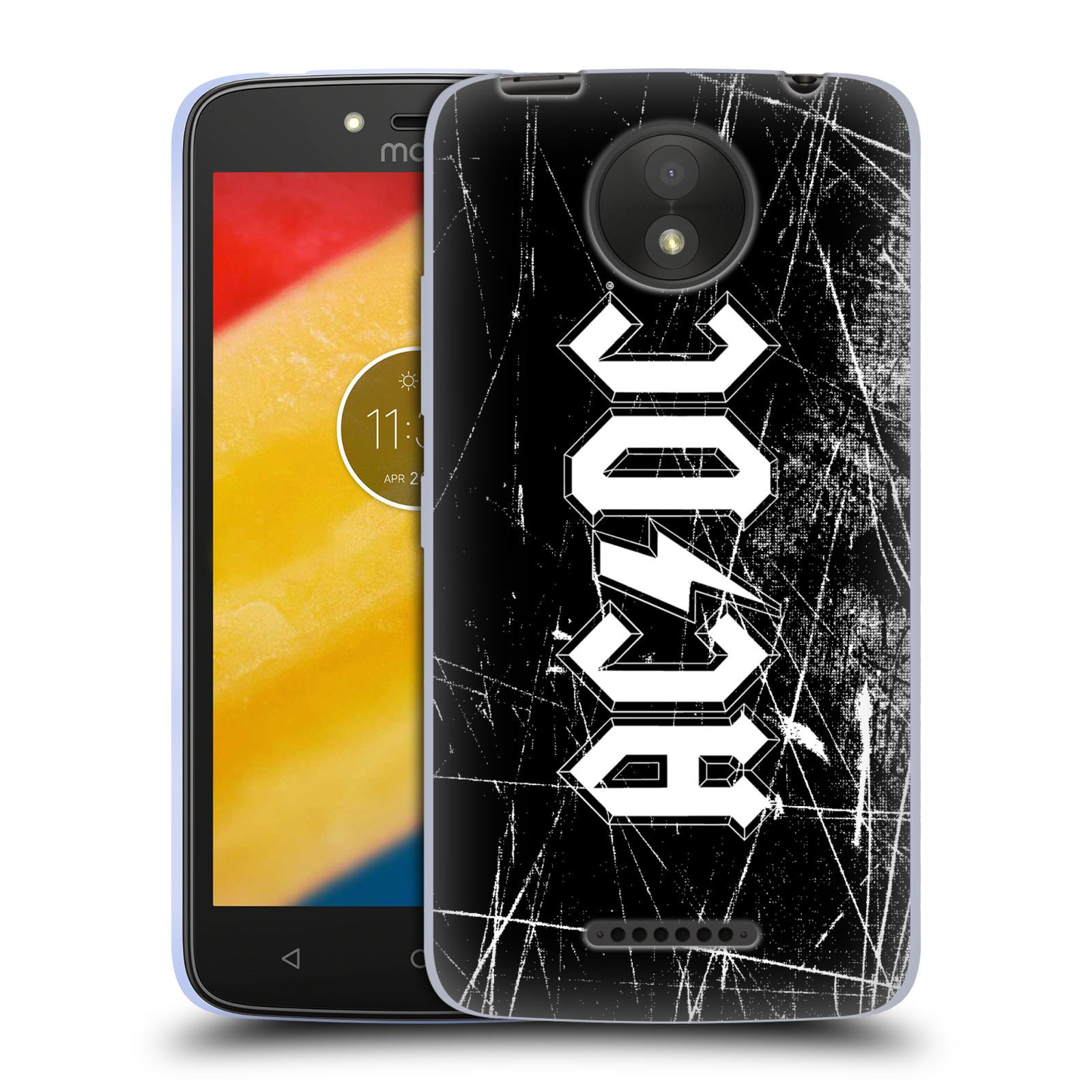 Silikonové pouzdro na mobil Lenovo Moto C Plus - Head Case - AC/DC Černobílé logo