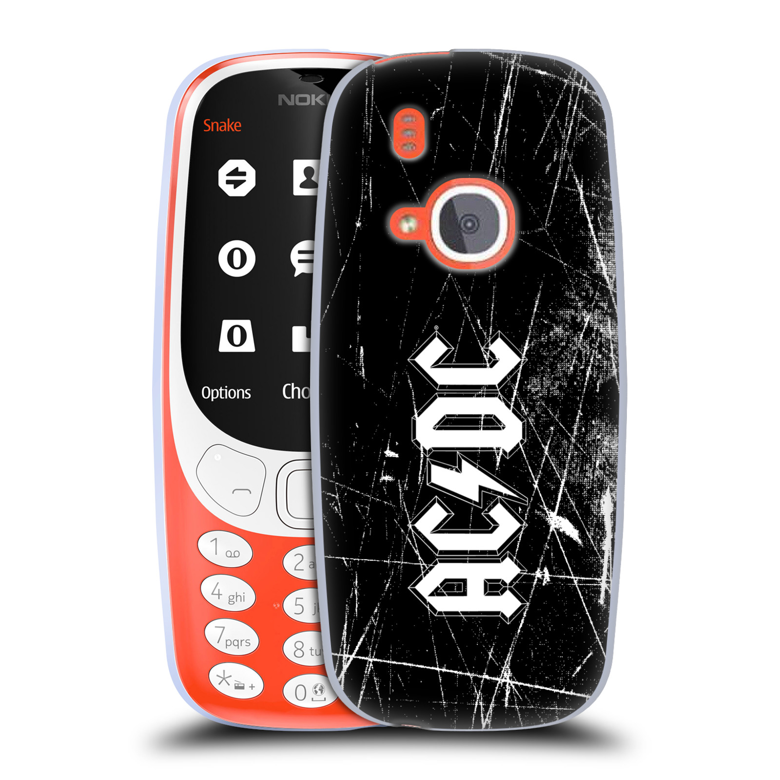 Silikonové pouzdro na mobil Nokia 3310 - Head Case - AC/DC Černobílé logo