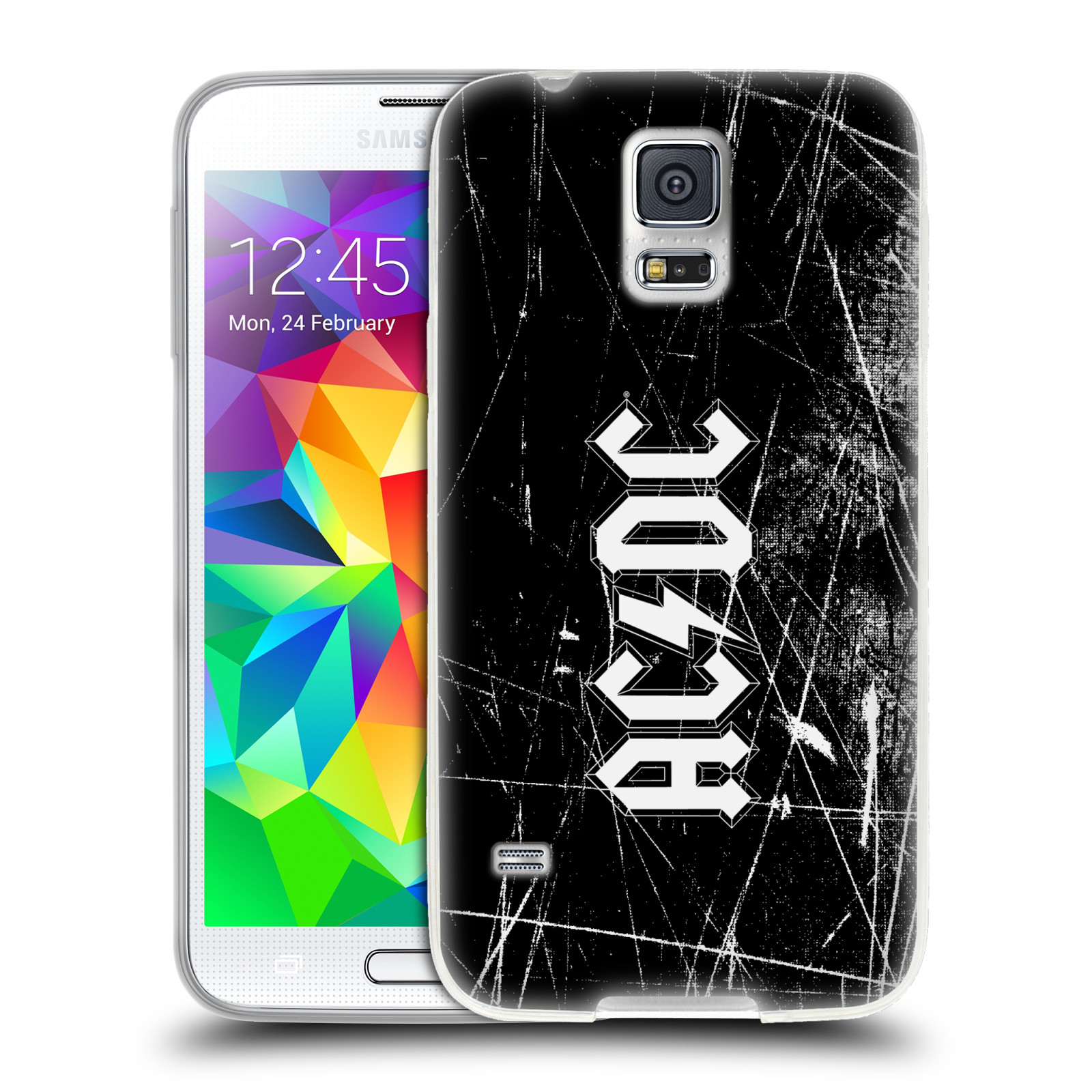 Silikonové pouzdro na mobil Samsung Galaxy S5 HEAD CASE AC/DC Černobílé logo