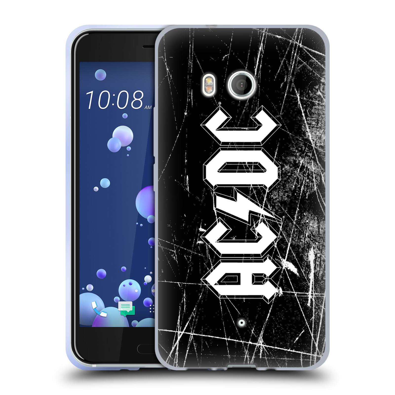 Silikonové pouzdro na mobil HTC U11 - Head Case - AC/DC Černobílé logo