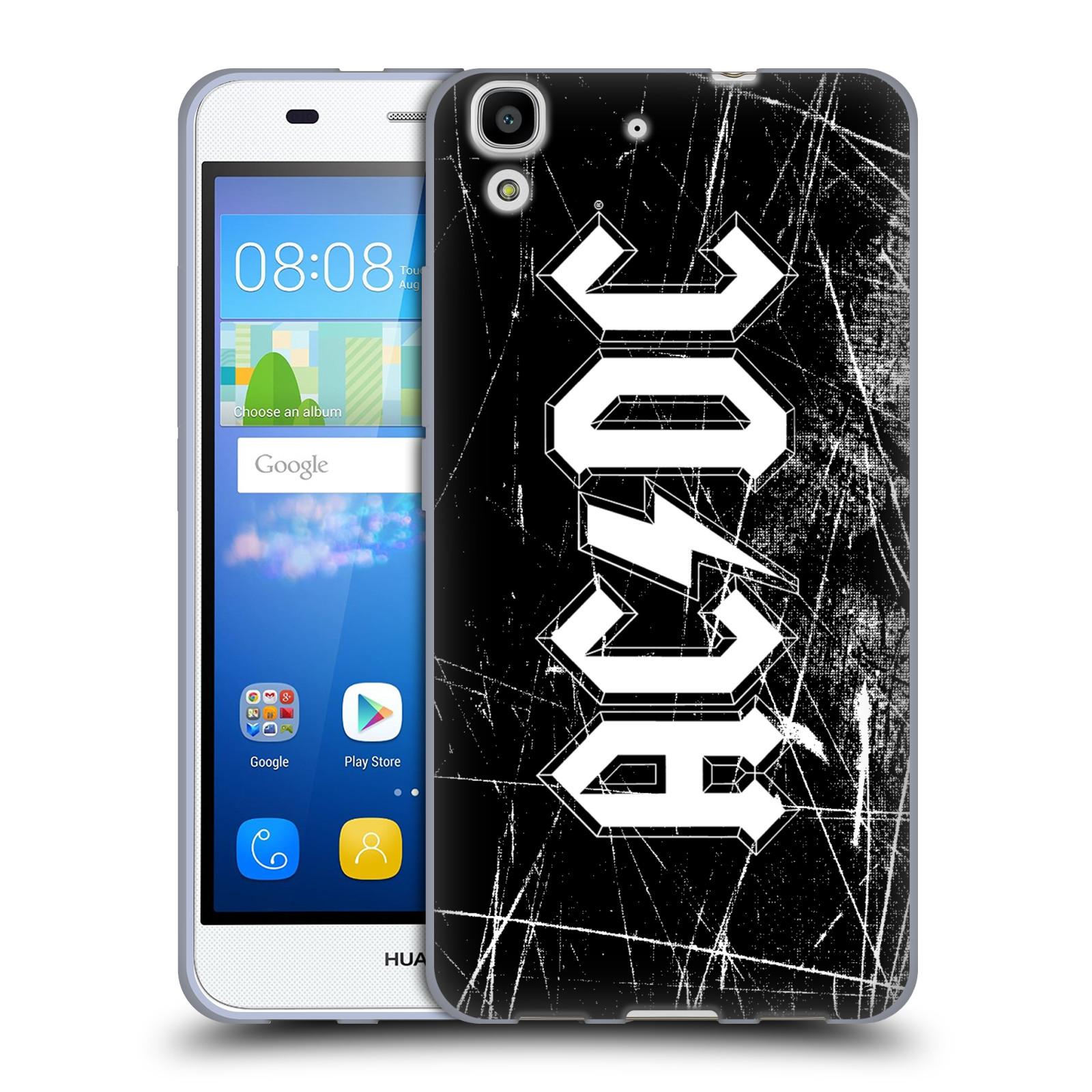 Silikonové pouzdro na mobil Huawei Y6 HEAD CASE AC/DC Černobílé logo