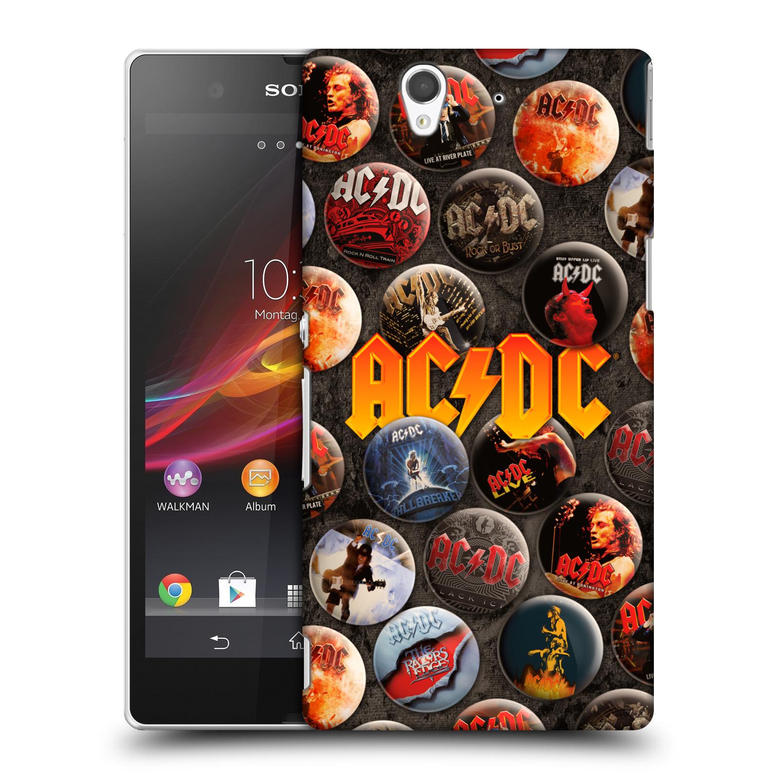 Plastové pouzdro na mobil Sony Xperia Z C6603 HEAD CASE AC/DC Placky (Plastový kryt či obal na mobilní telefon s oficiálním motivem australské skupiny AC/DC pro Sony Xperia Z)