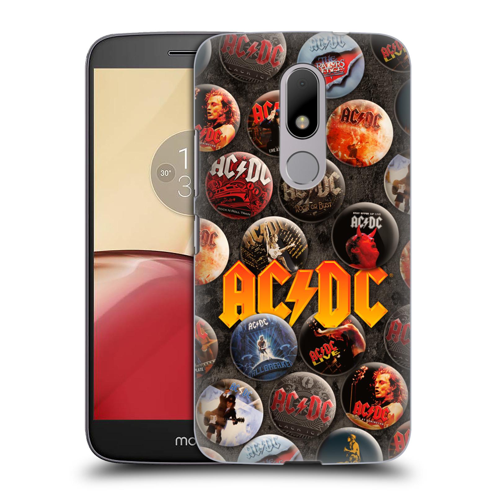 Plastové pouzdro na mobil Lenovo Moto M HEAD CASE AC/DC Placky (Plastový kryt či obal na mobilní telefon s oficiálním motivem australské skupiny AC/DC pro Lenovo (Motorola) Moto M / Moto M Dual SIM)