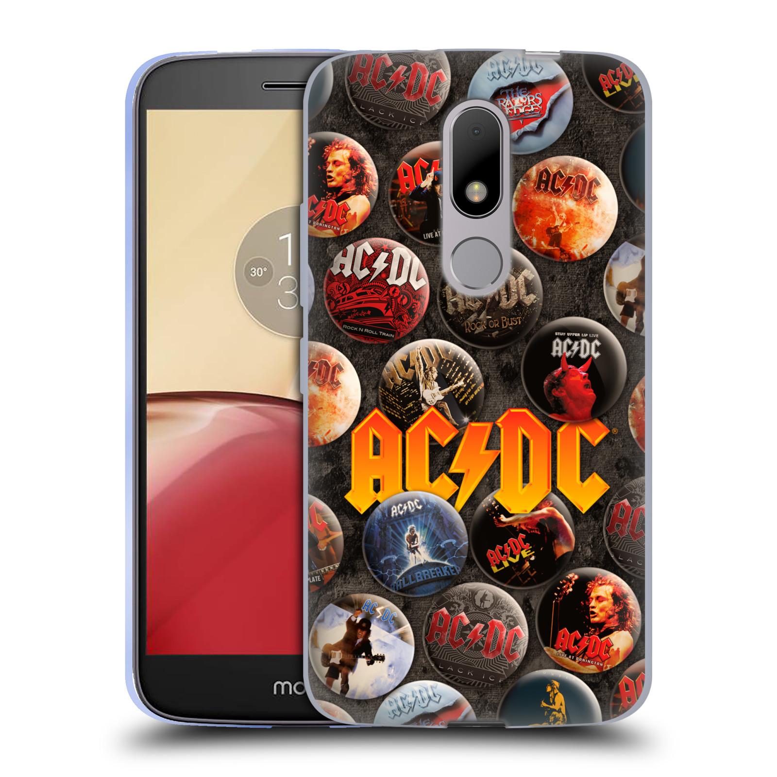 Silikonové pouzdro na mobil Lenovo Moto M - Head Case AC/DC Placky (Silikonový kryt či obal na mobilní telefon s oficiálním motivem australské skupiny AC/DC pro Lenovo Moto M (Dual Sim))