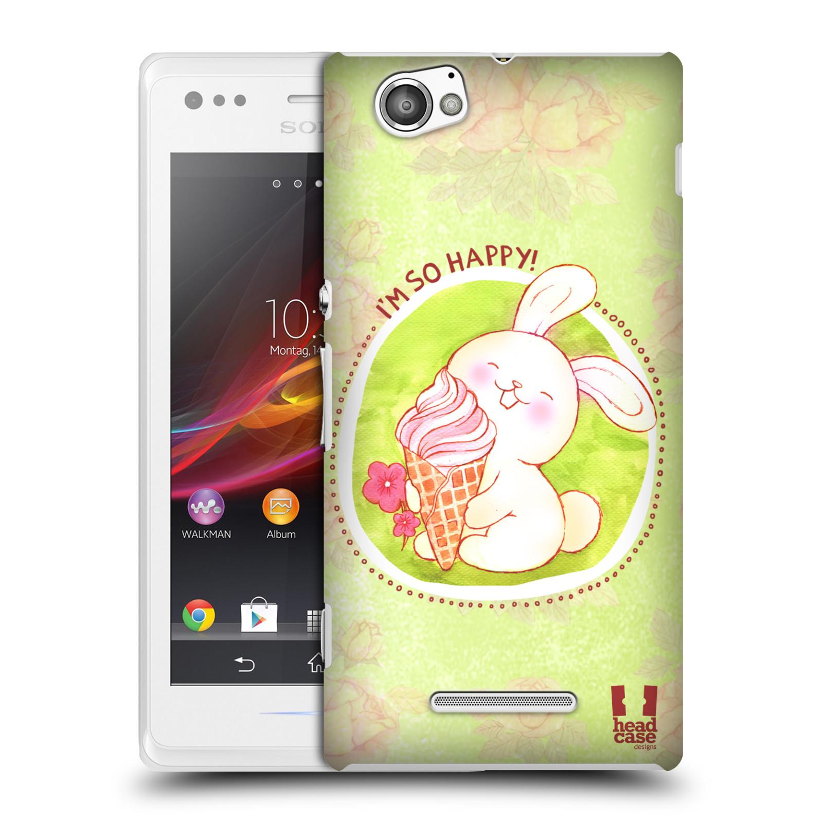Plastové pouzdro na mobil Sony Xperia M C1905 HEAD CASE KRÁLÍČEK A ZMRZKA
