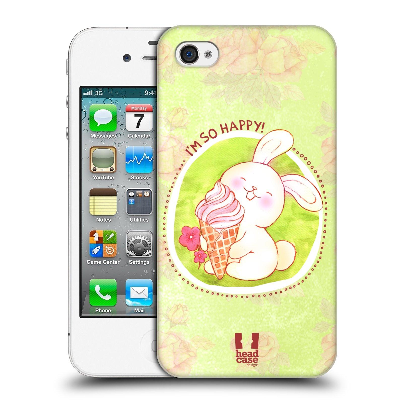 Plastové pouzdro na mobil Apple iPhone 4 a 4S HEAD CASE KRÁLÍČEK A ZMRZKA